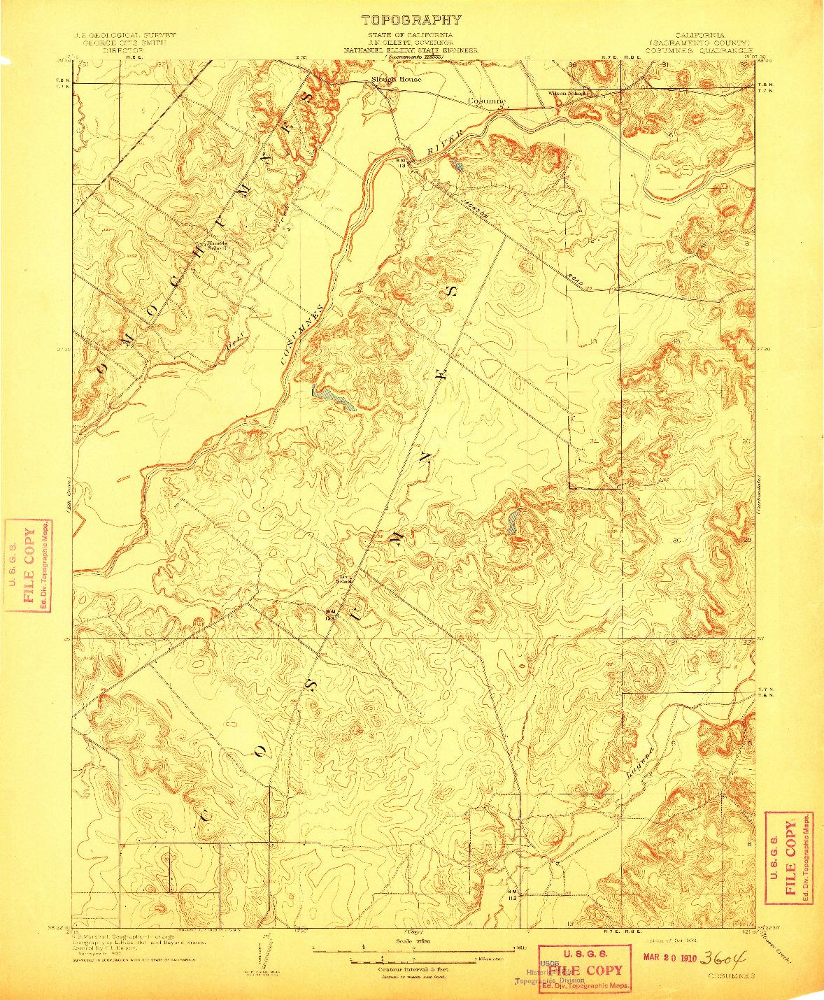 USGS 1:31680-SCALE QUADRANGLE FOR COSUMNES, CA 1909