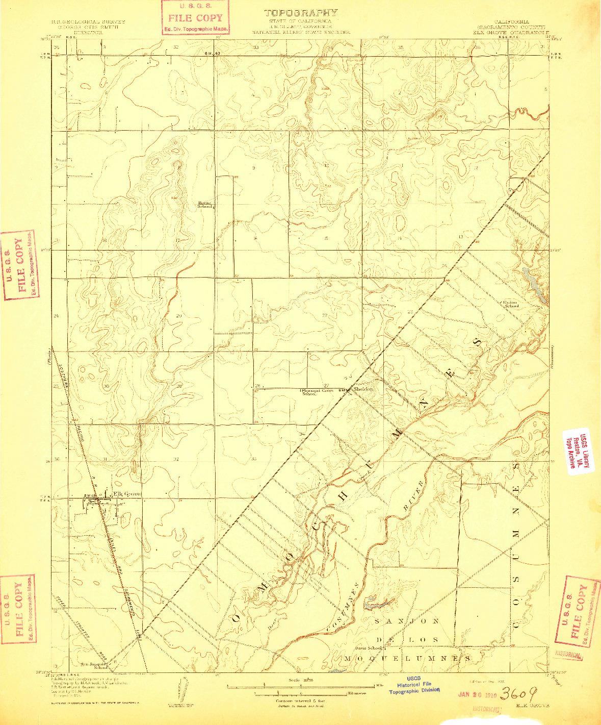 USGS 1:31680-SCALE QUADRANGLE FOR ELK GROVE, CA 1909