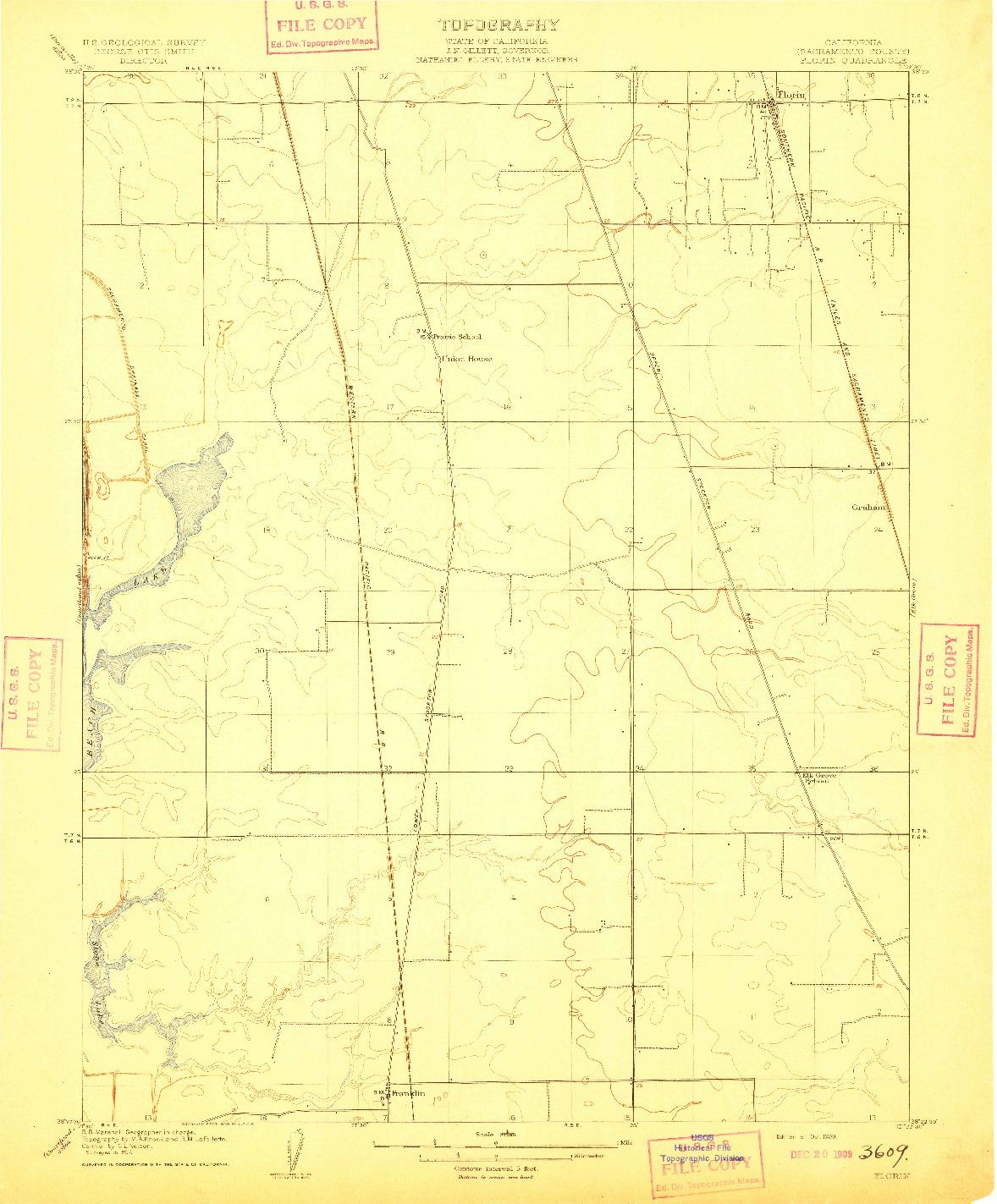 USGS 1:31680-SCALE QUADRANGLE FOR FLORIN, CA 1909