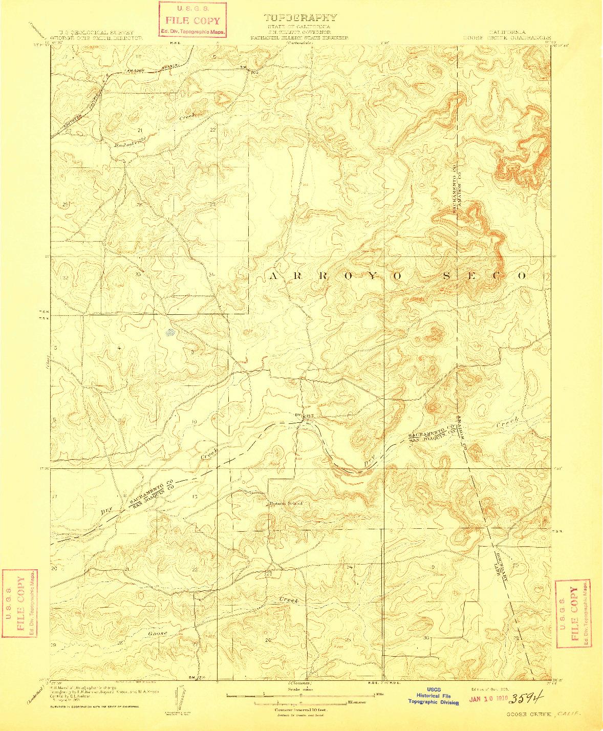 USGS 1:31680-SCALE QUADRANGLE FOR GOOSE CREEK, CA 1909