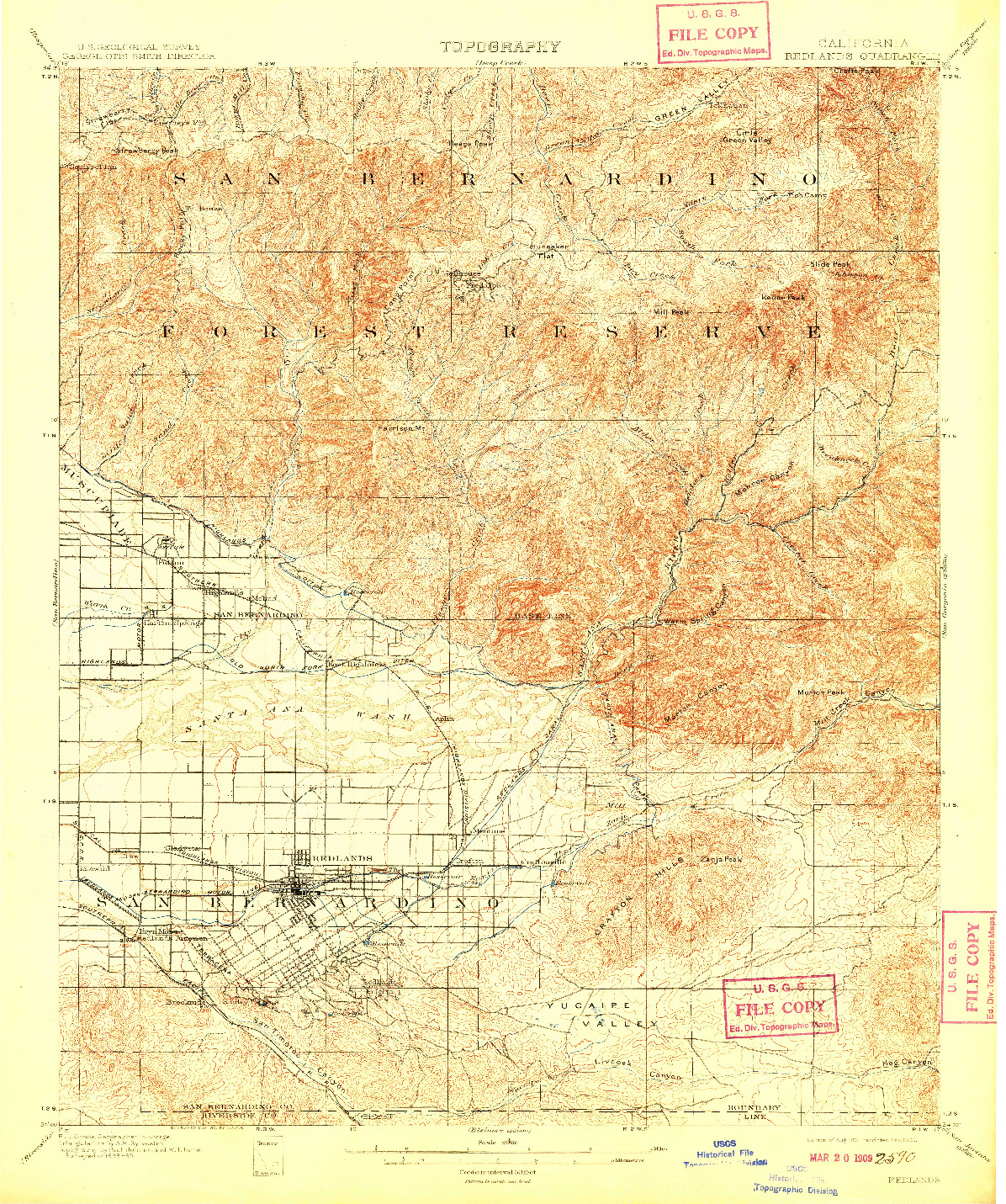 USGS 1:62500-SCALE QUADRANGLE FOR REDLANDS, CA 1901