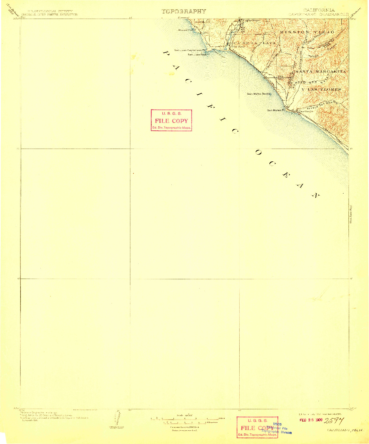 USGS 1:125000-SCALE QUADRANGLE FOR CAPISTRANO, CA 1902