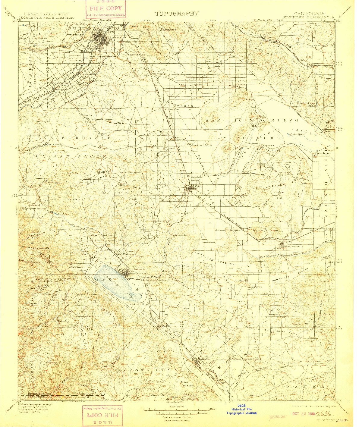 USGS 1:125000-SCALE QUADRANGLE FOR ELSINORE, CA 1901