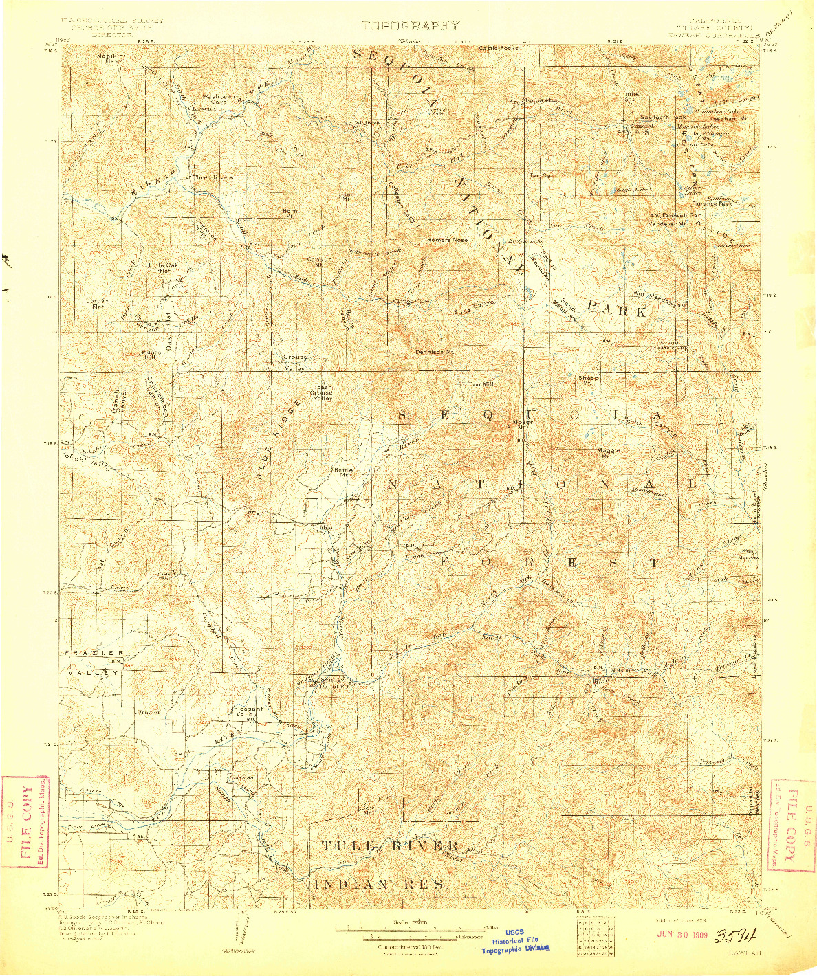 USGS 1:125000-SCALE QUADRANGLE FOR KAWEAH, CA 1909