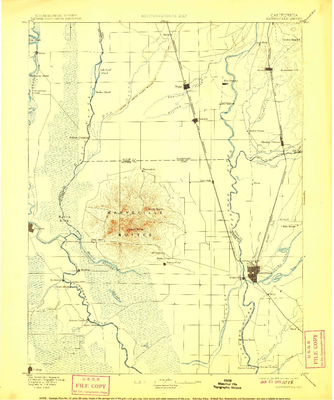 USGS 1:125000-SCALE QUADRANGLE FOR MARYSVILLE, CA 1895