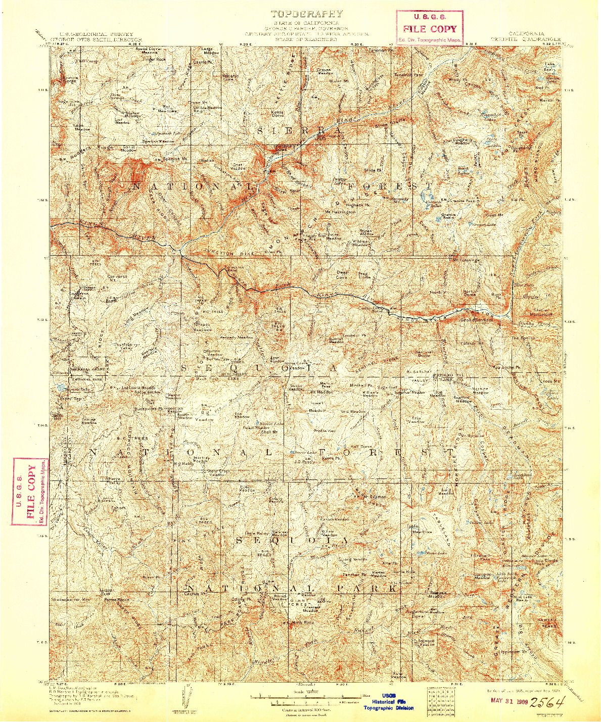 USGS 1:125000-SCALE QUADRANGLE FOR TEHIPITE, CA 1905