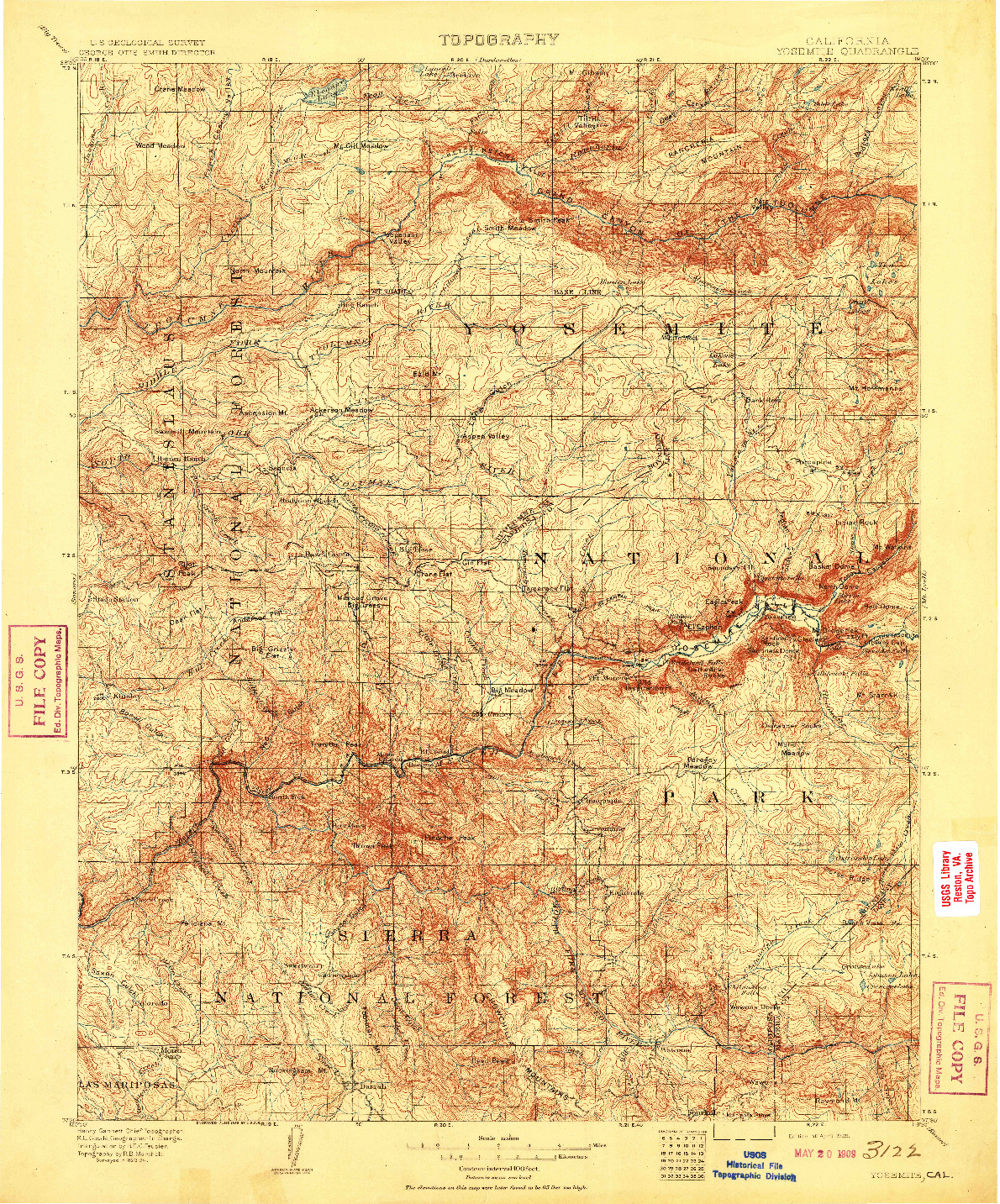 USGS 1:125000-SCALE QUADRANGLE FOR YOSEMITE, CA 1909