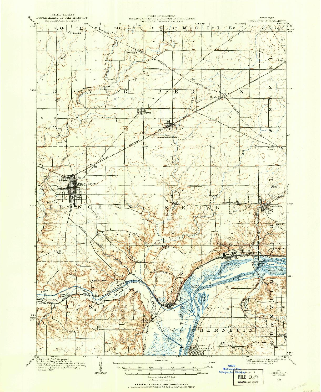 USGS 1:62500-SCALE QUADRANGLE FOR HENNEPIN, IL 1909