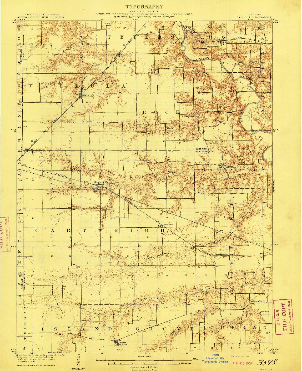 USGS 1:62500-SCALE QUADRANGLE FOR TALLULA, IL 1909
