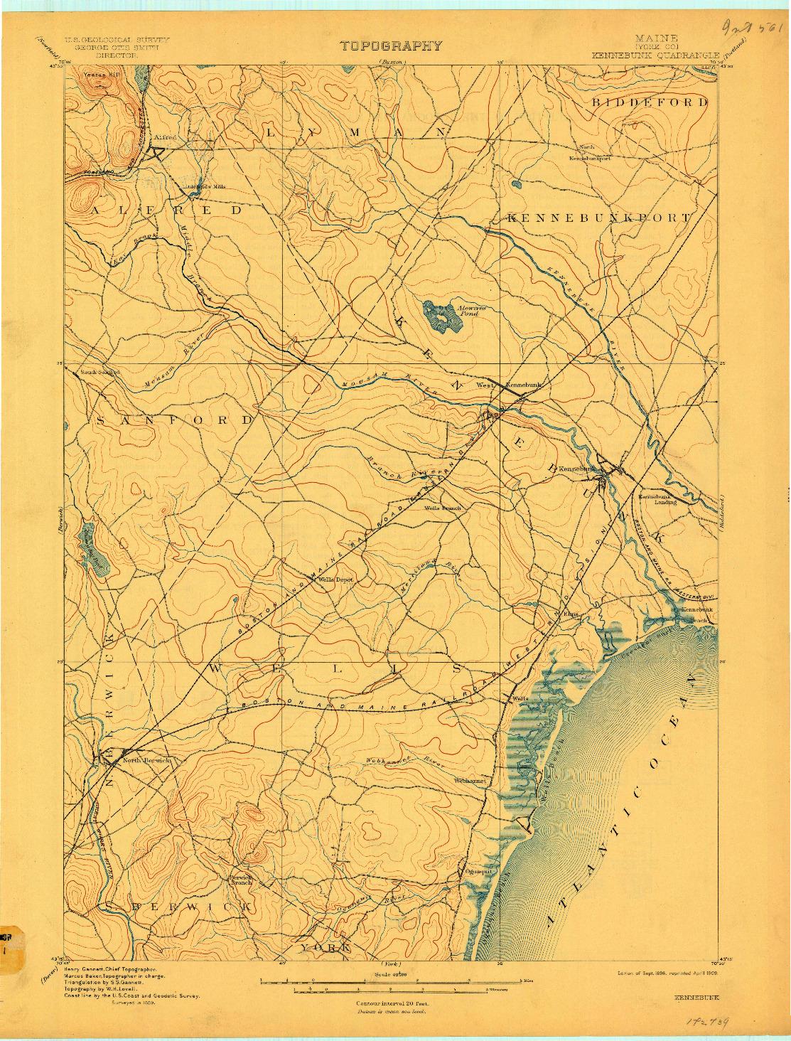 USGS 1:62500-SCALE QUADRANGLE FOR KENNEBUNK, ME 1898