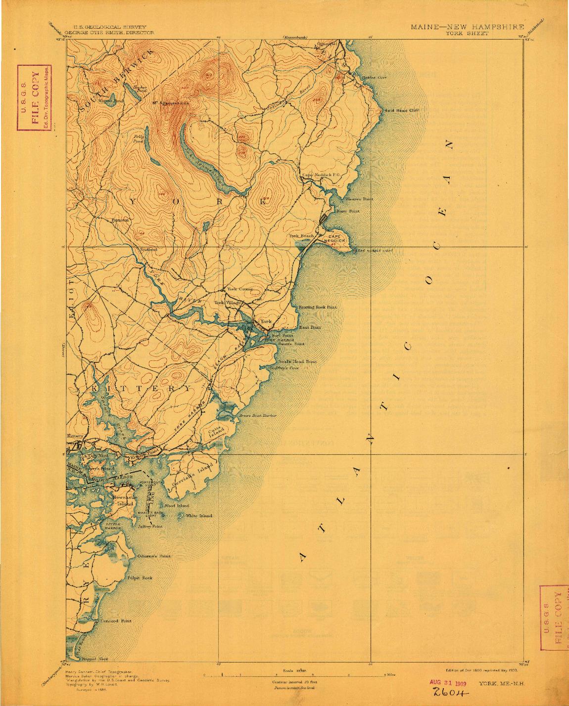 USGS 1:62500-SCALE QUADRANGLE FOR YORK, ME 1893