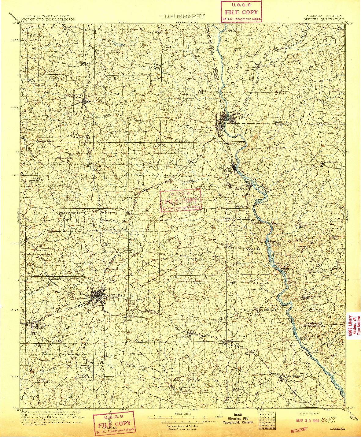 USGS 1:125000-SCALE QUADRANGLE FOR OPELIKA, AL 1909