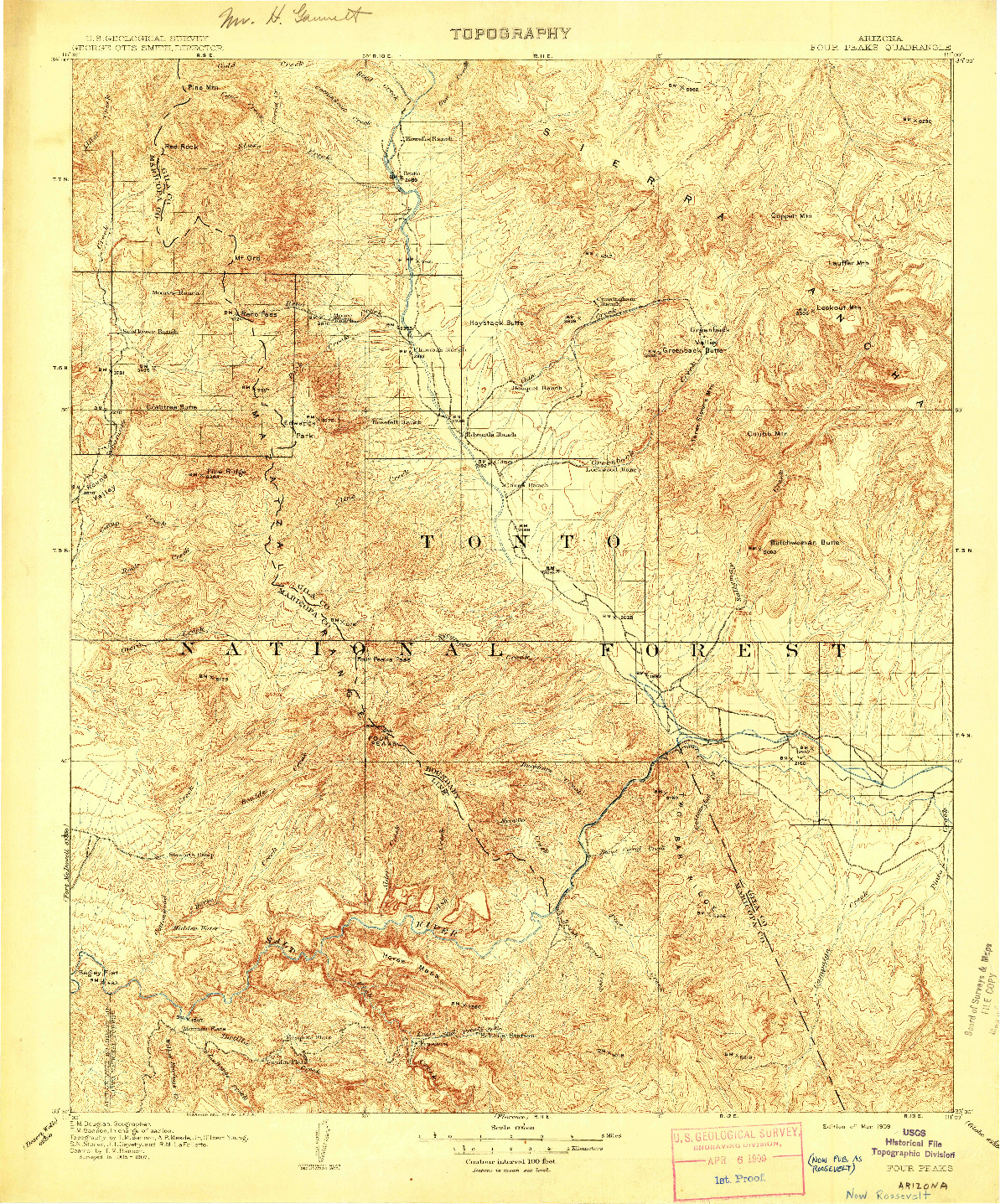 USGS 1:125000-SCALE QUADRANGLE FOR FOUR PEAKS, AZ 1909