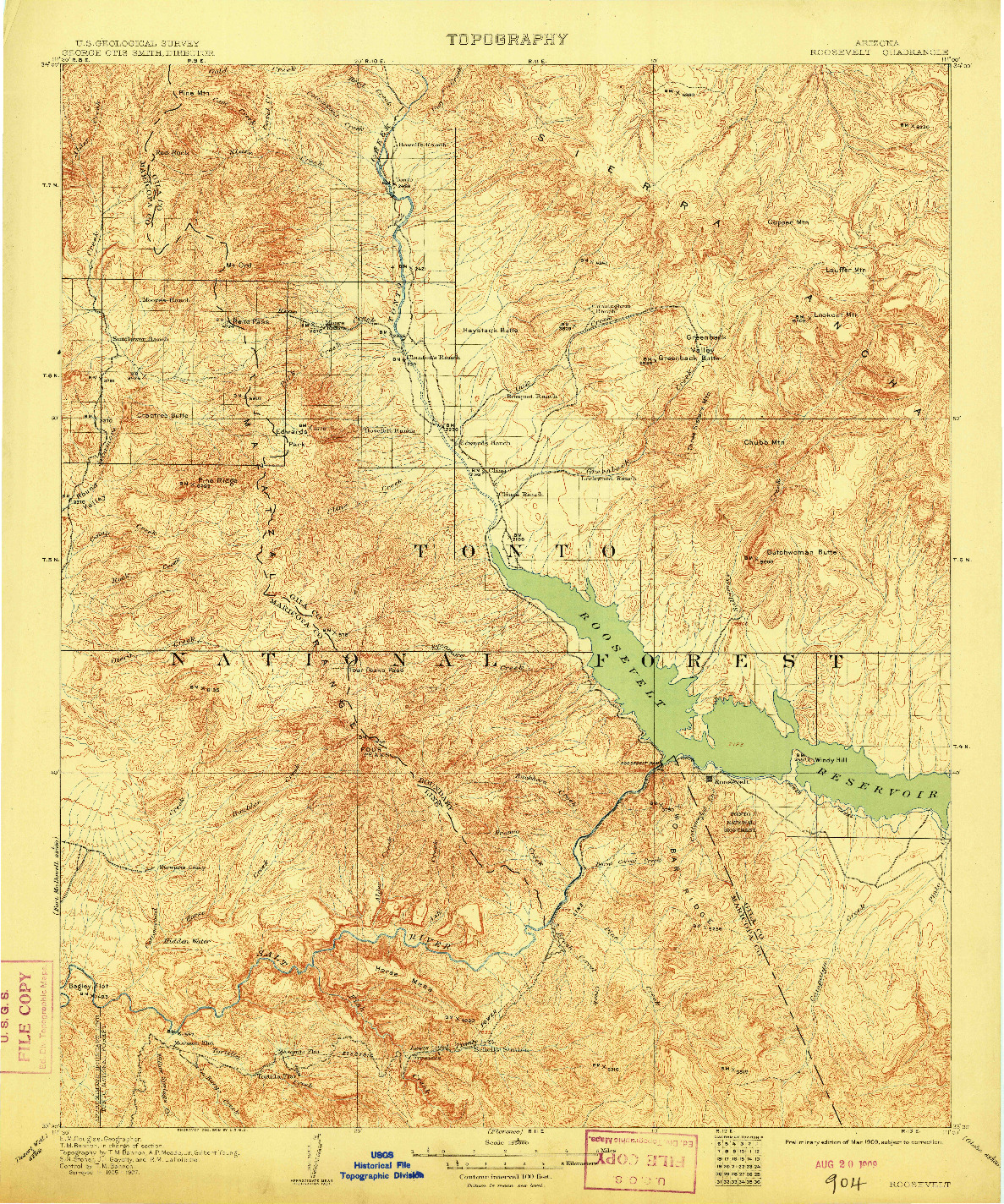 USGS 1:125000-SCALE QUADRANGLE FOR ROOSEVELT, AZ 1909
