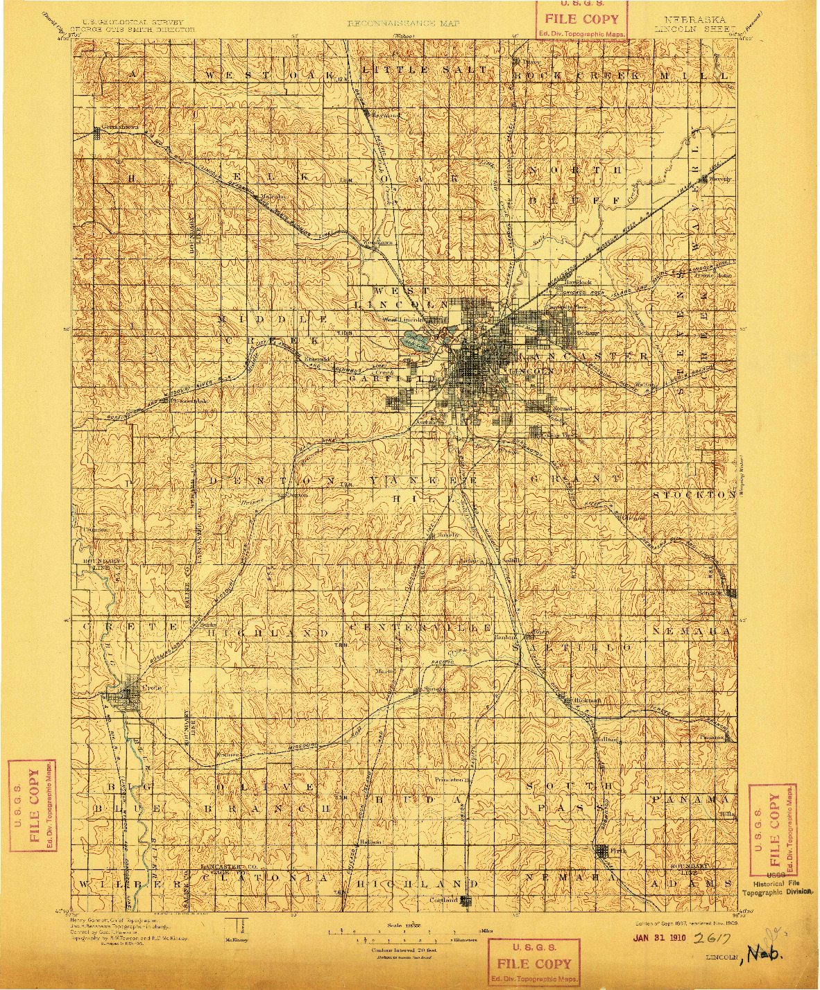 USGS 1:125000-SCALE QUADRANGLE FOR LINCOLN, NE 1897