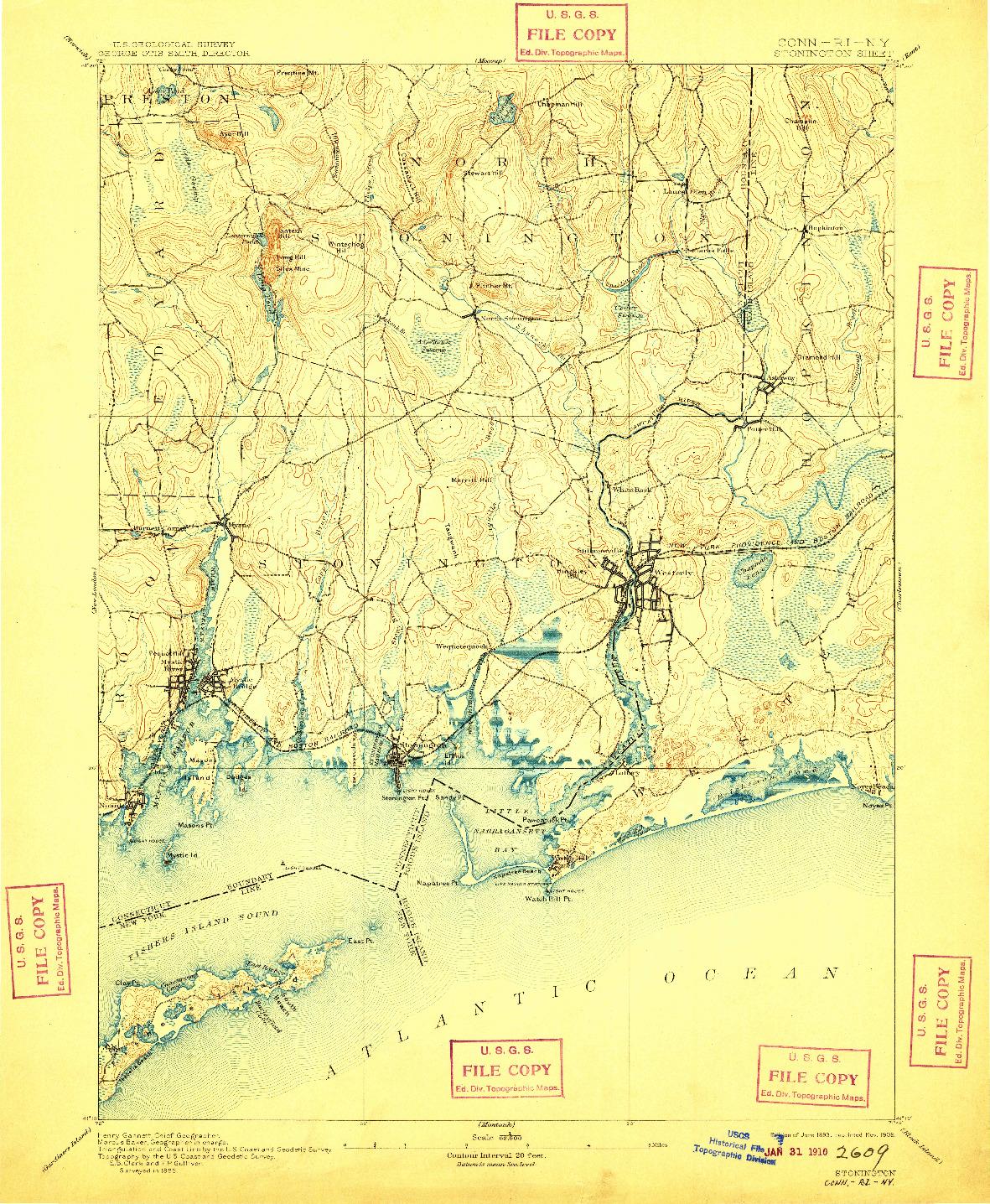USGS 1:62500-SCALE QUADRANGLE FOR STONINGTON, CT 1893