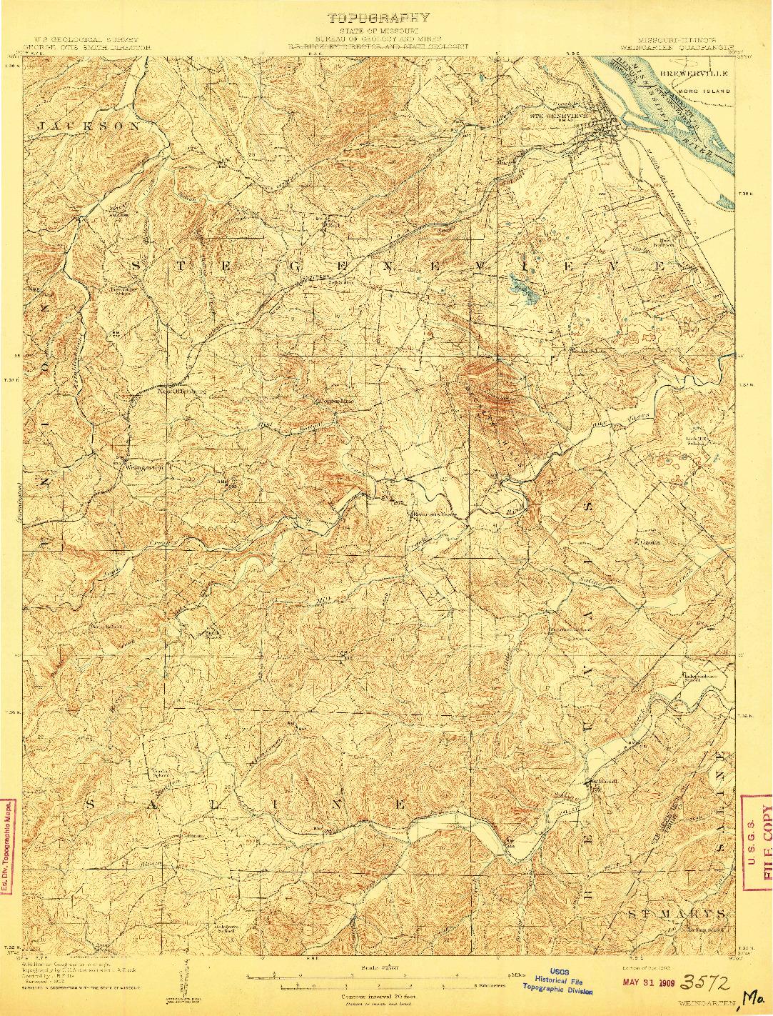 USGS 1:62500-SCALE QUADRANGLE FOR WEINGARTEN, MO 1909