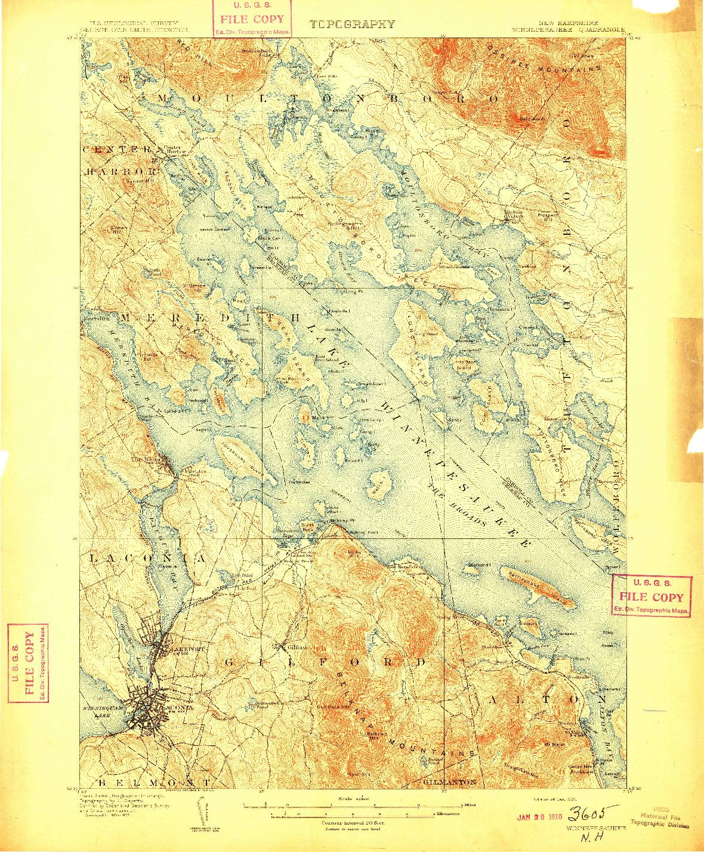 USGS 1:62500-SCALE QUADRANGLE FOR WINNEPESAUKEE, NH 1909