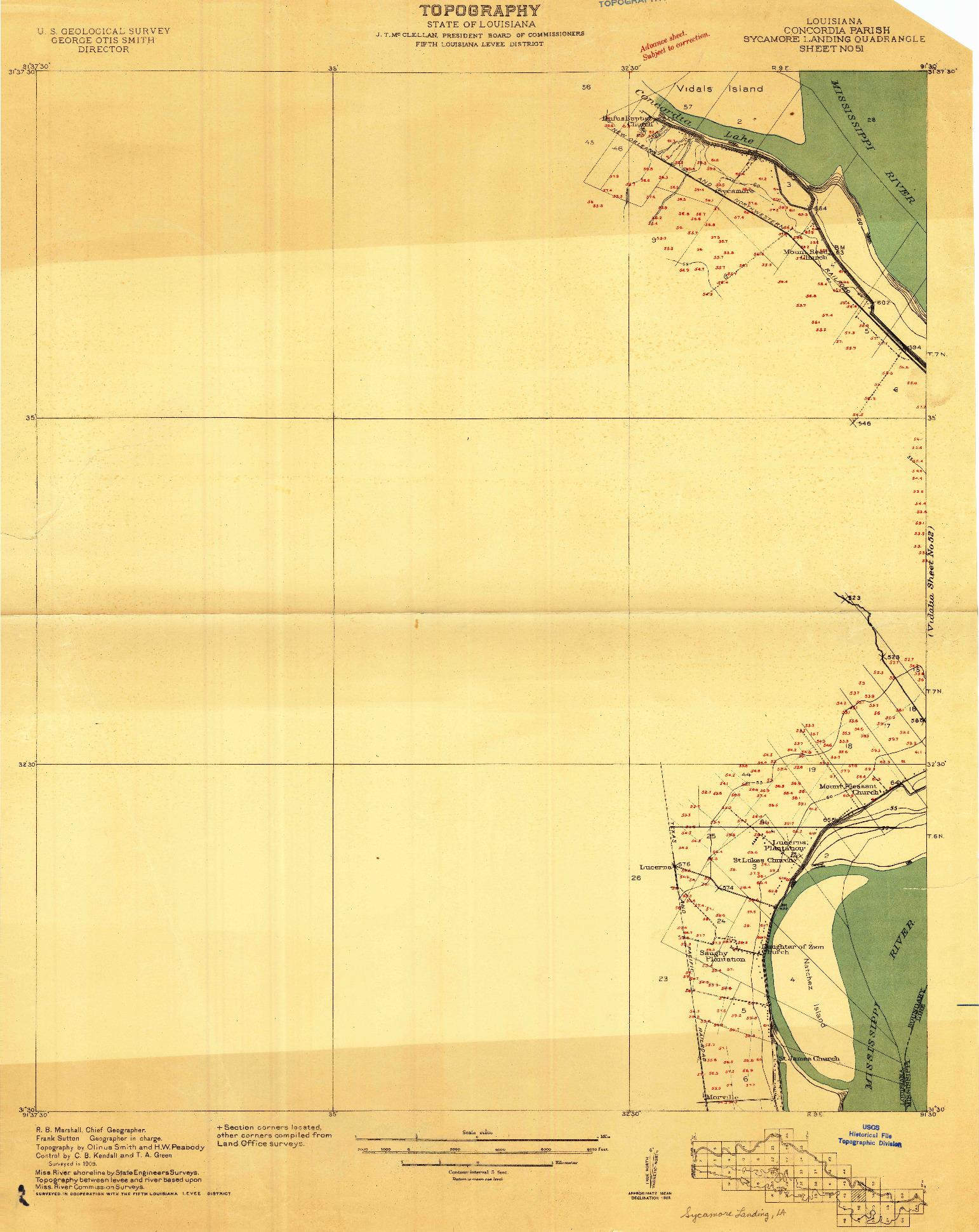 USGS 1:24000-SCALE QUADRANGLE FOR SYCAMORE LANDING, LA 1909