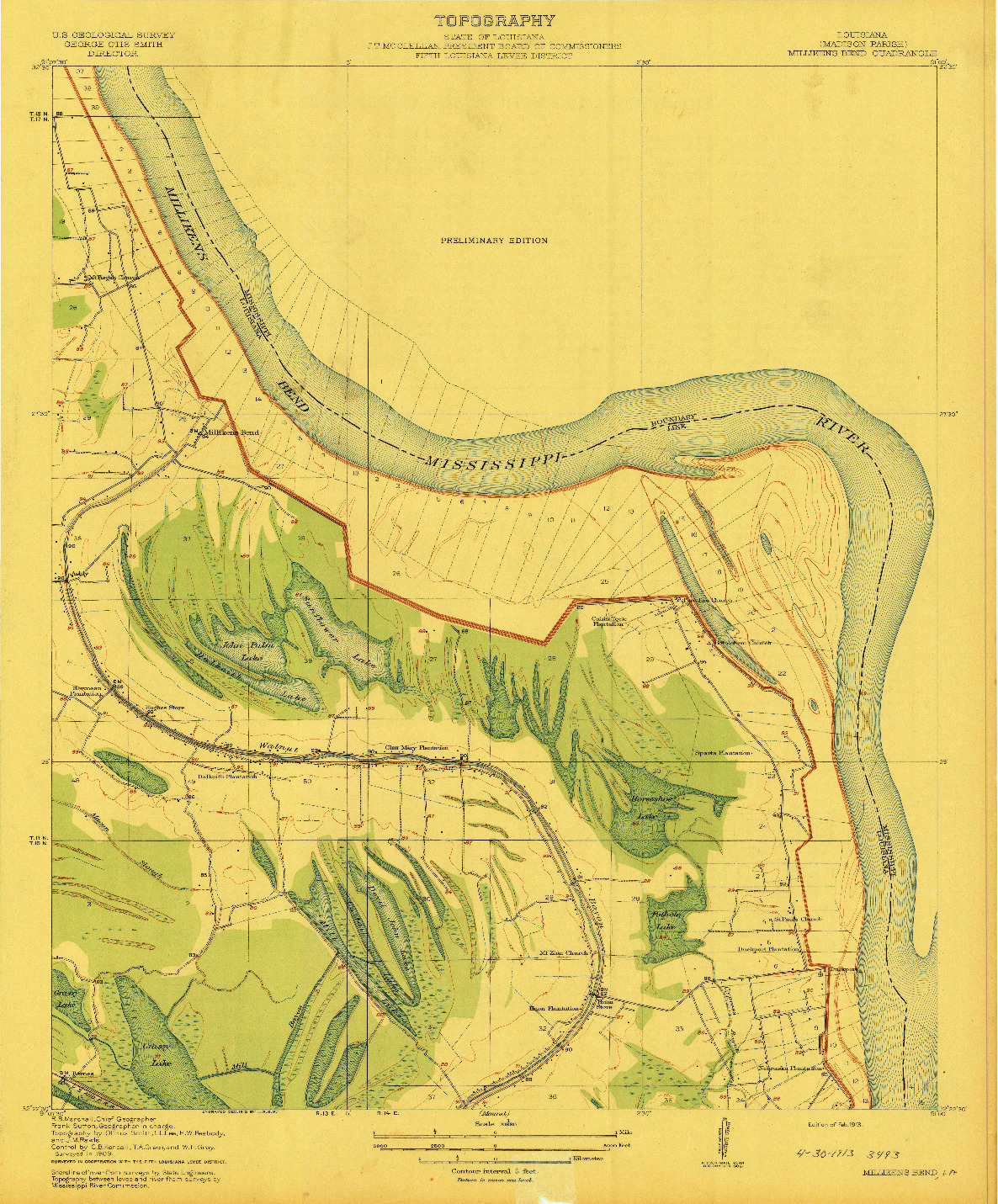 USGS 1:31680-SCALE QUADRANGLE FOR MILLIKENS BEND, LA 1909