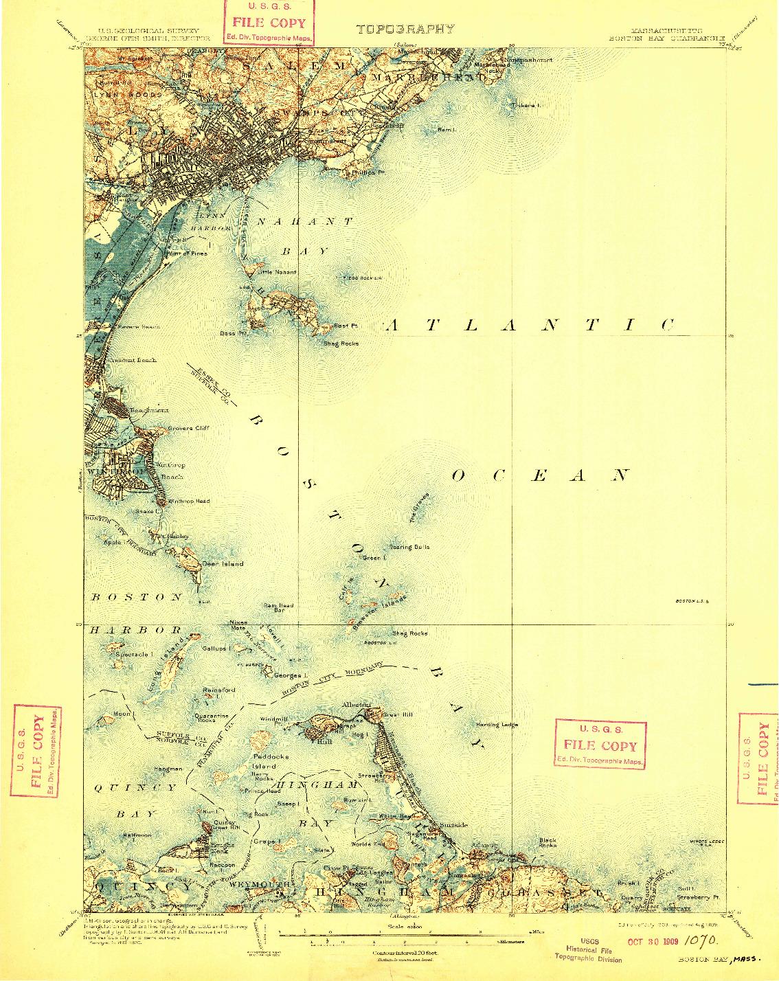 USGS 1:62500-SCALE QUADRANGLE FOR BOSTON BAY, MA 1903
