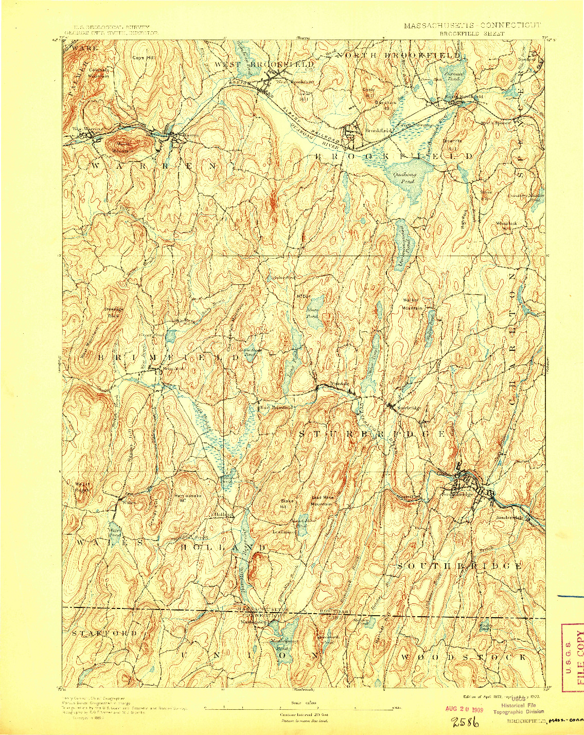 USGS 1:62500-SCALE QUADRANGLE FOR BROOKFIELD, MA 1893