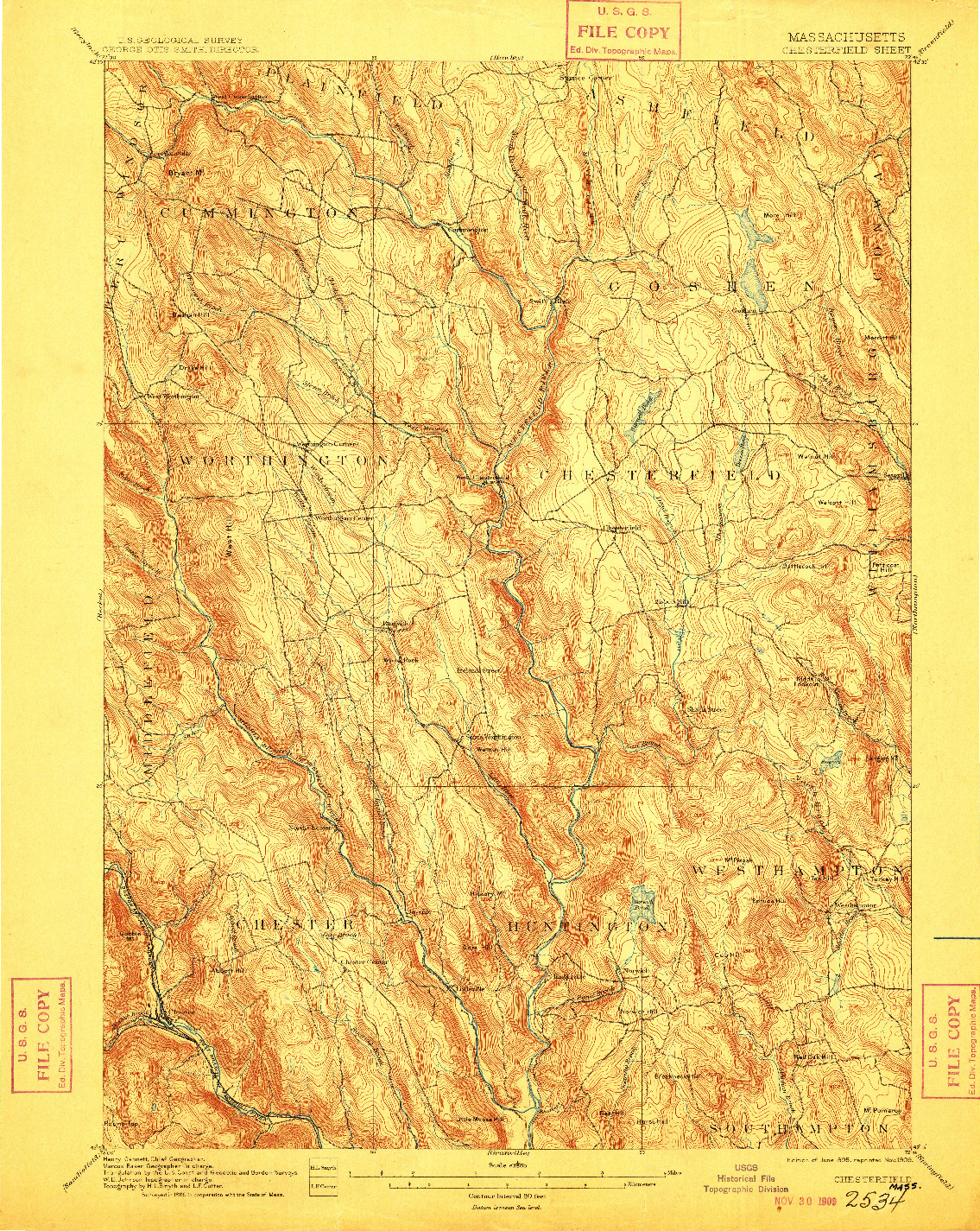 USGS 1:62500-SCALE QUADRANGLE FOR CHESTERFIELD, MA 1895