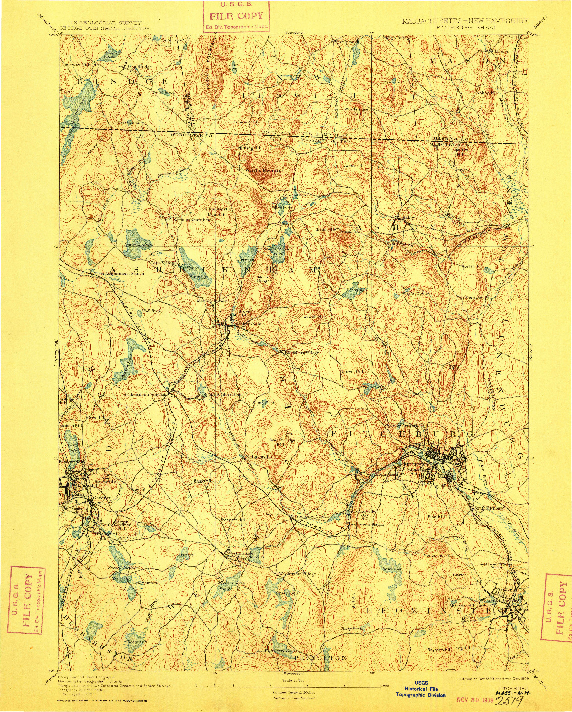 USGS 1:62500-SCALE QUADRANGLE FOR FITCHBURG, MA 1893