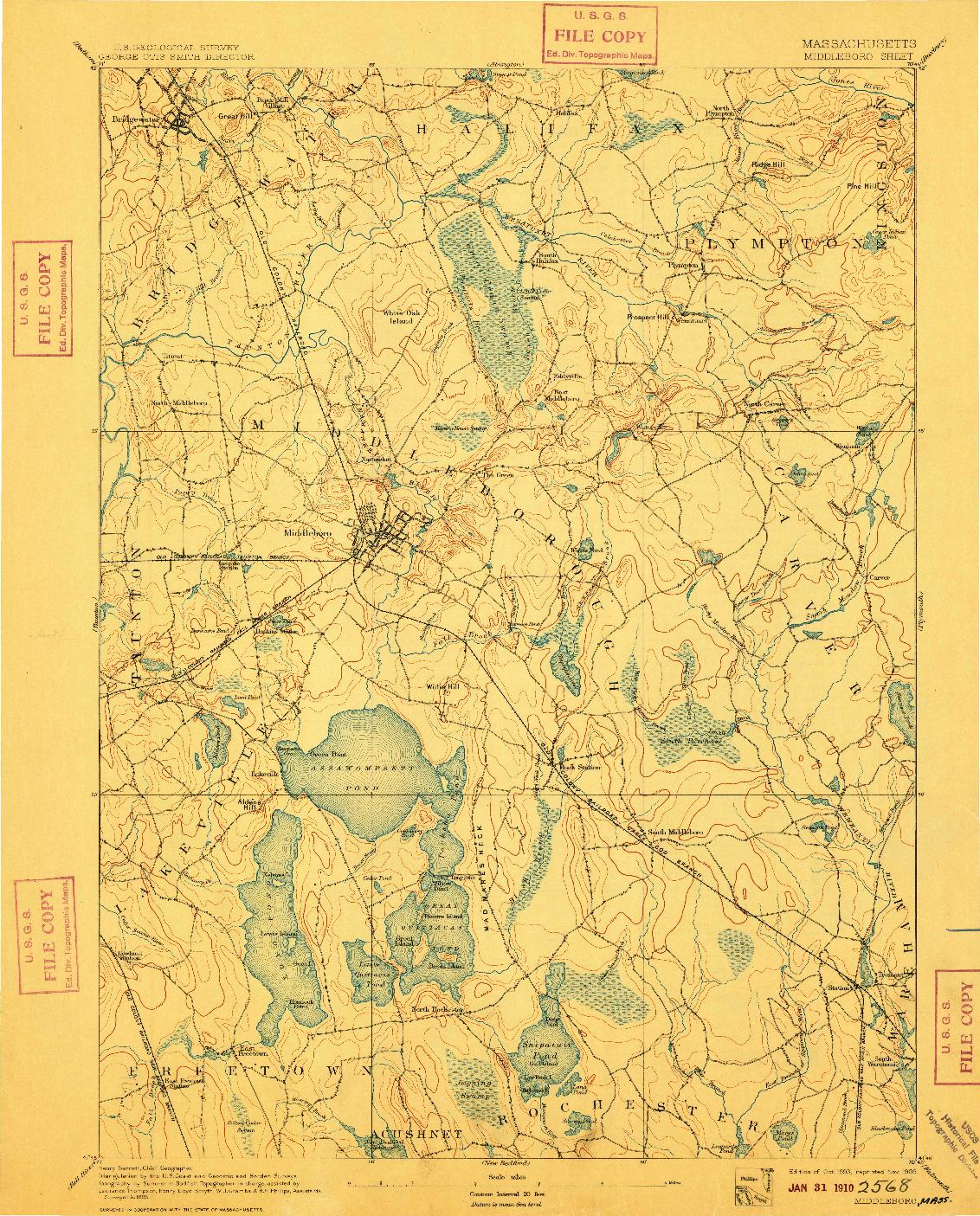 USGS 1:62500-SCALE QUADRANGLE FOR MIDDLEBORO, MA 1893
