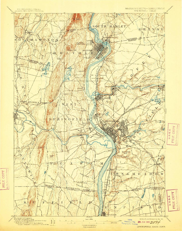 USGS 1:62500-SCALE QUADRANGLE FOR SPRINGFIELD, MA 1895