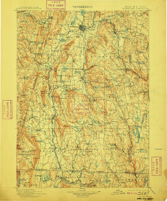 USGS 1:125000-SCALE QUADRANGLE FOR HOUSATONIC, MA 1900