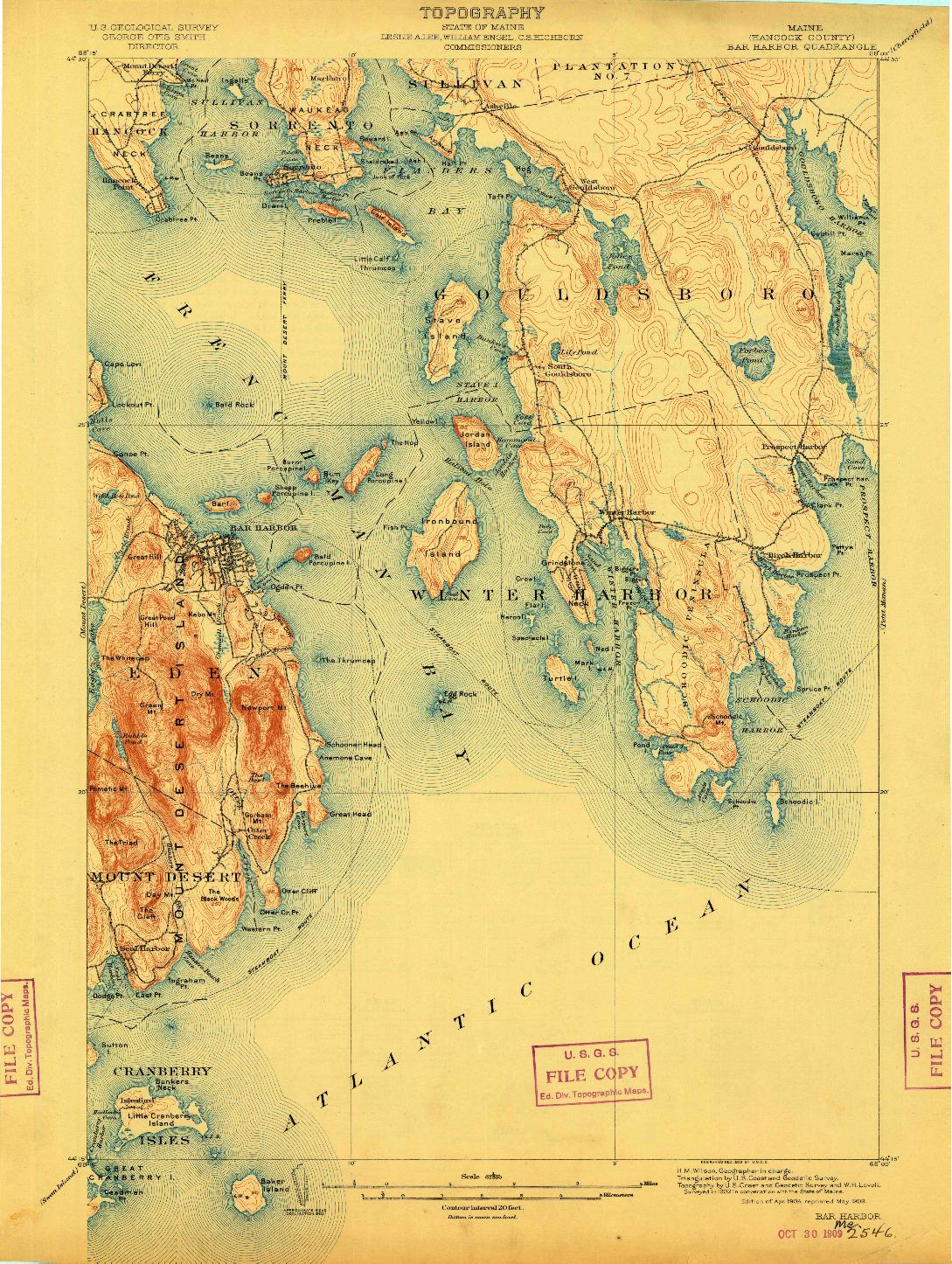 USGS 1:62500-SCALE QUADRANGLE FOR BAR HARBOR, ME 1904