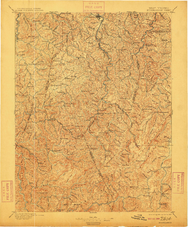 USGS 1:125000-SCALE QUADRANGLE FOR BUCKHANNON, WV 1896
