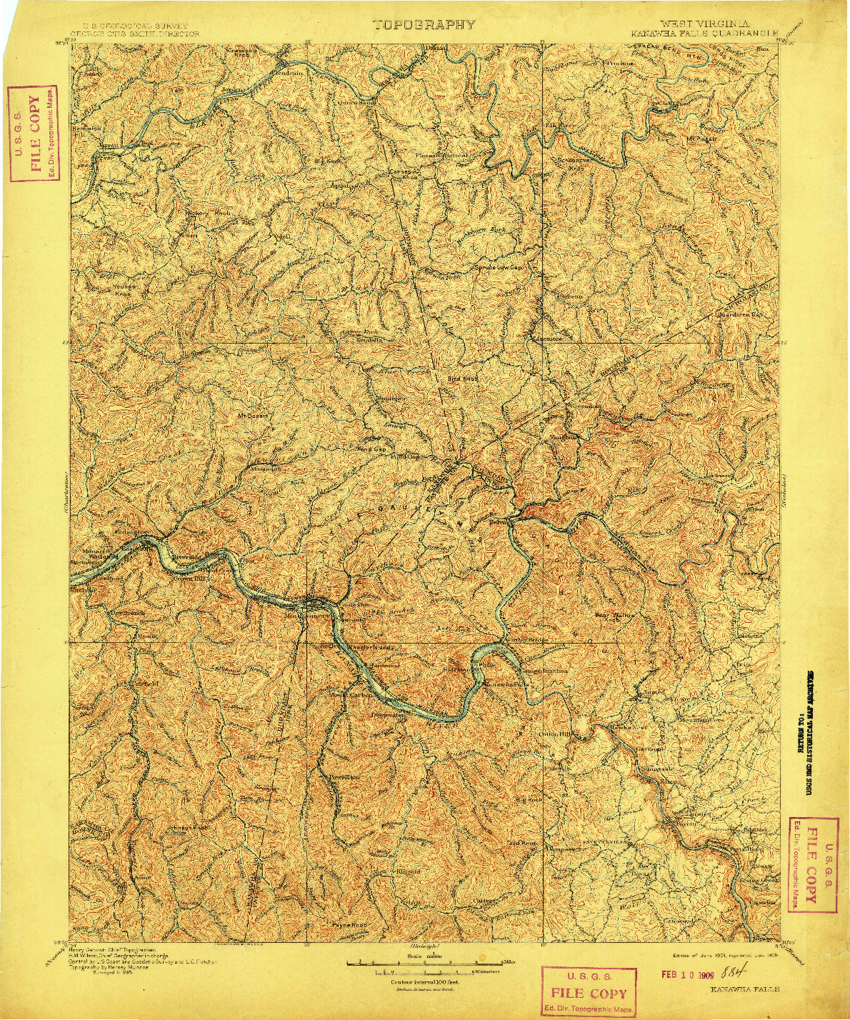 USGS 1:125000-SCALE QUADRANGLE FOR KANAWHA FALLS, WV 1901