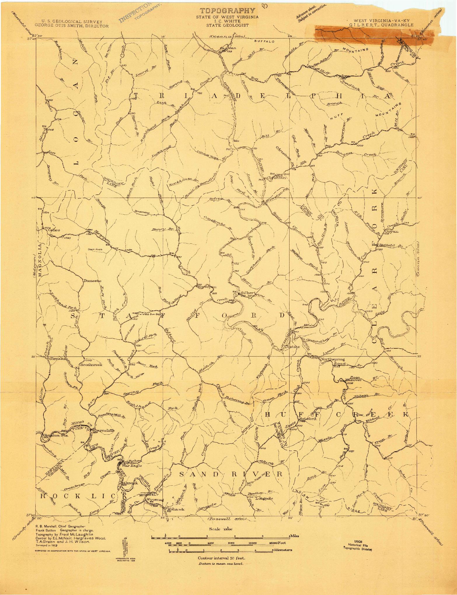USGS 1:48000-SCALE QUADRANGLE FOR GILBERT, WV 1909