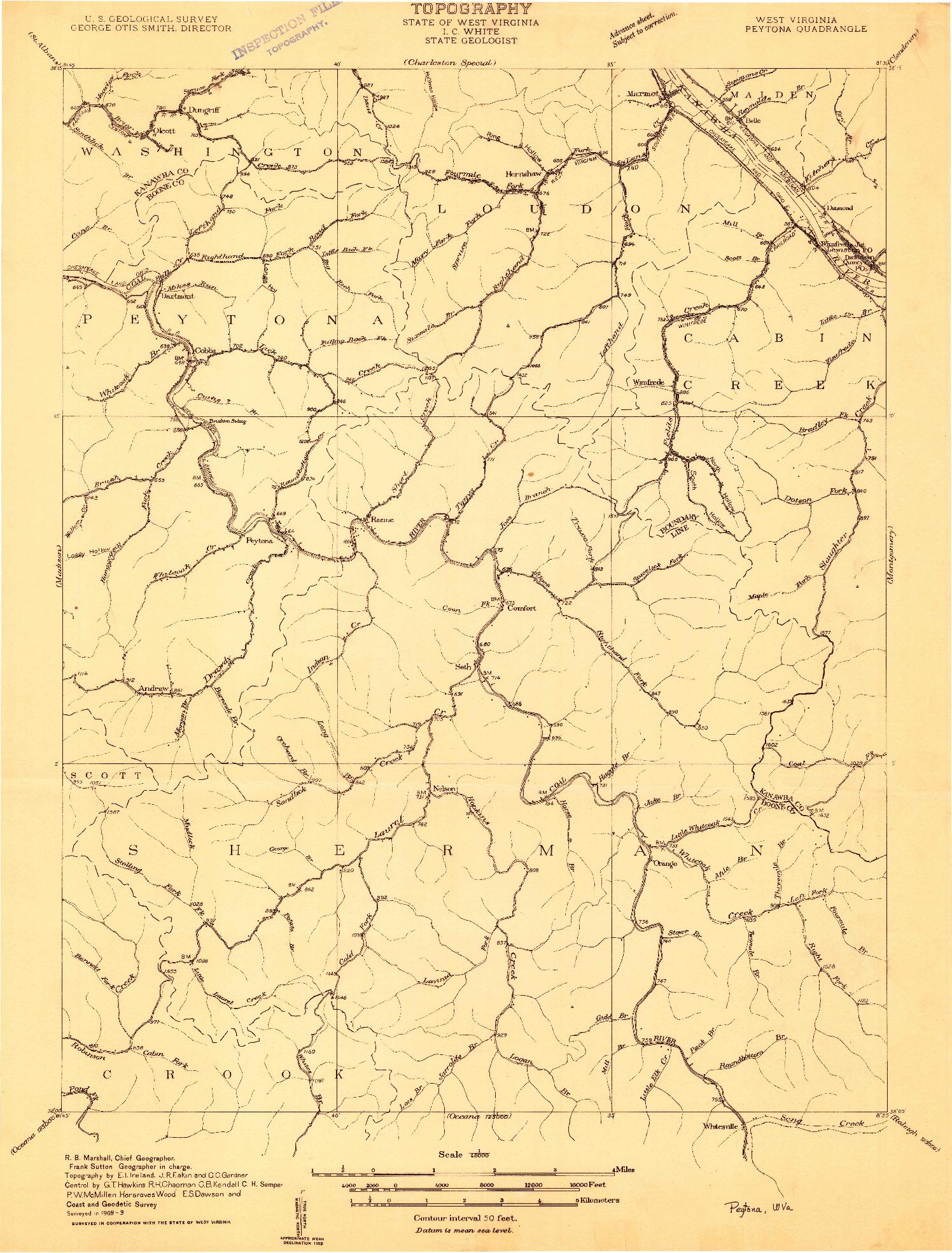 USGS 1:48000-SCALE QUADRANGLE FOR PEYTONA, WV 1909