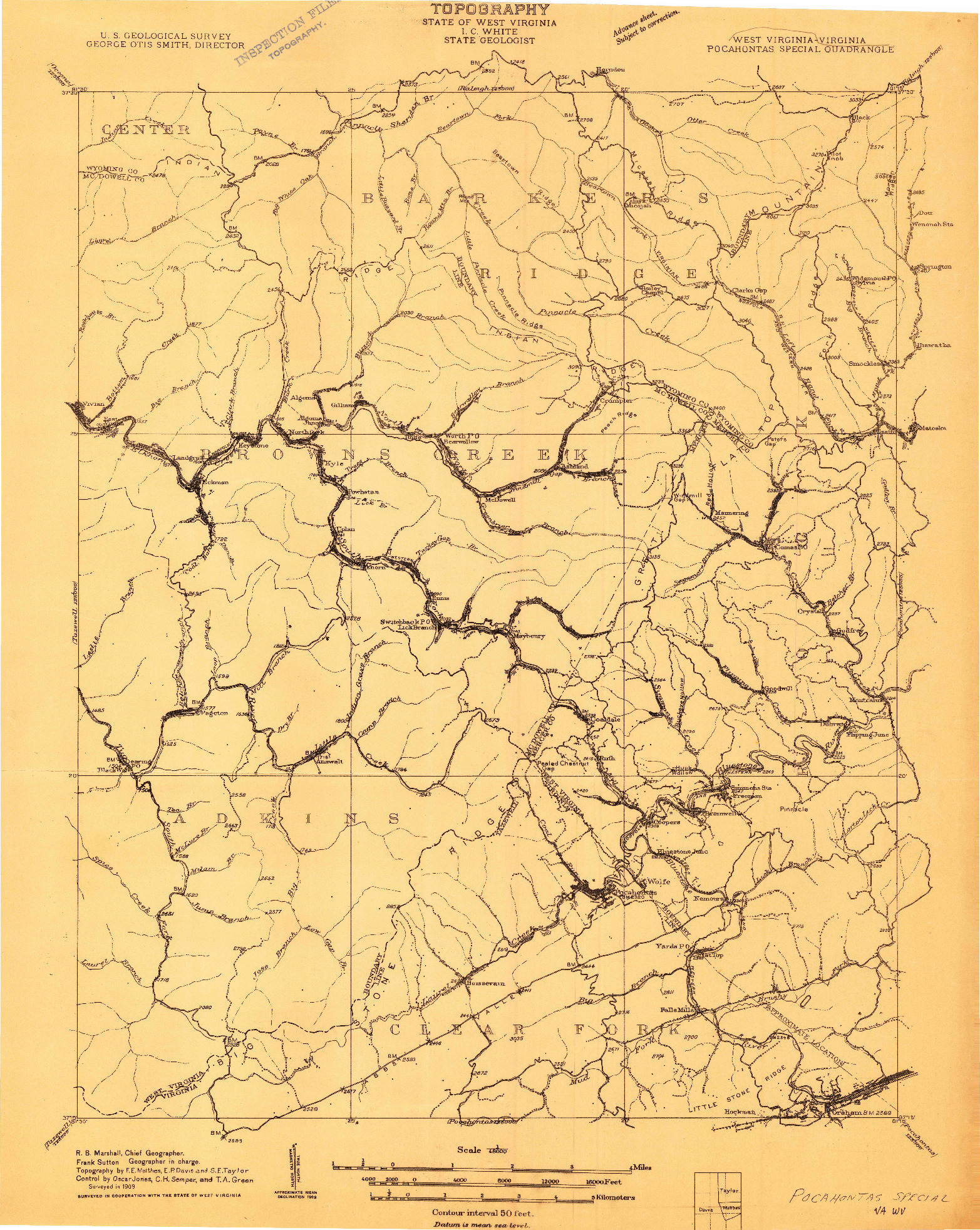 USGS 1:48000-SCALE QUADRANGLE FOR POCAHONTAS SPECIAL, WV 1909