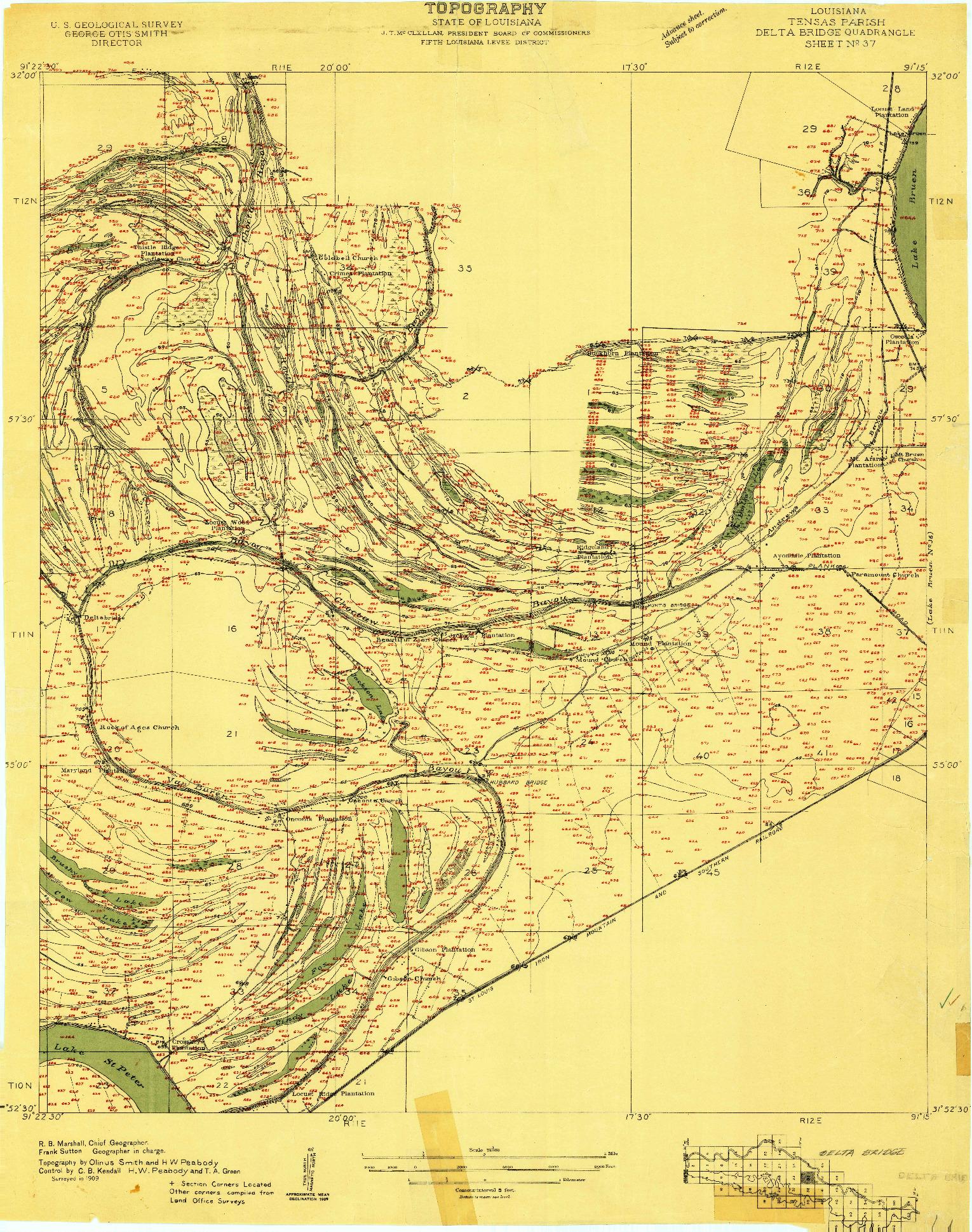 USGS 1:24000-SCALE QUADRANGLE FOR DELTA BRIDGE, LA 1909