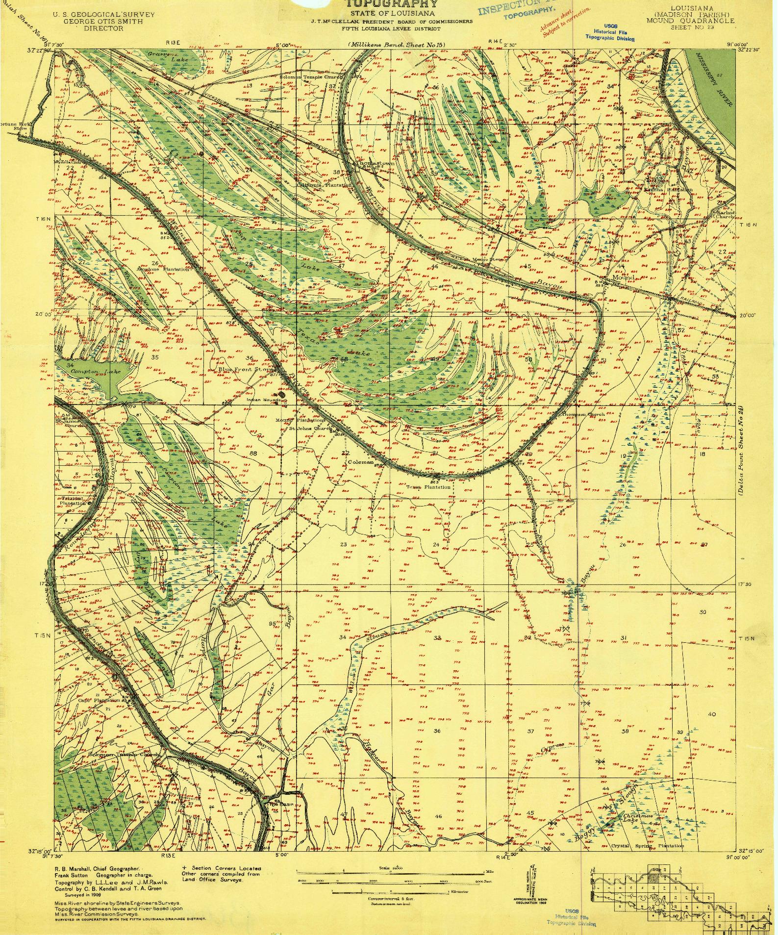 USGS 1:24000-SCALE QUADRANGLE FOR MOUND, LA 1909