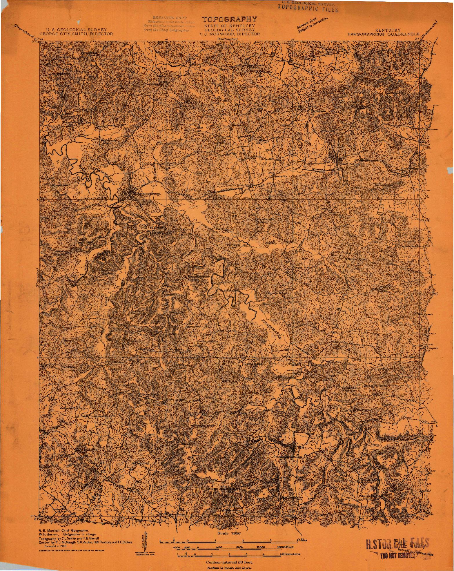 USGS 1:48000-SCALE QUADRANGLE FOR DAWSON SPRINGS, KY 1909