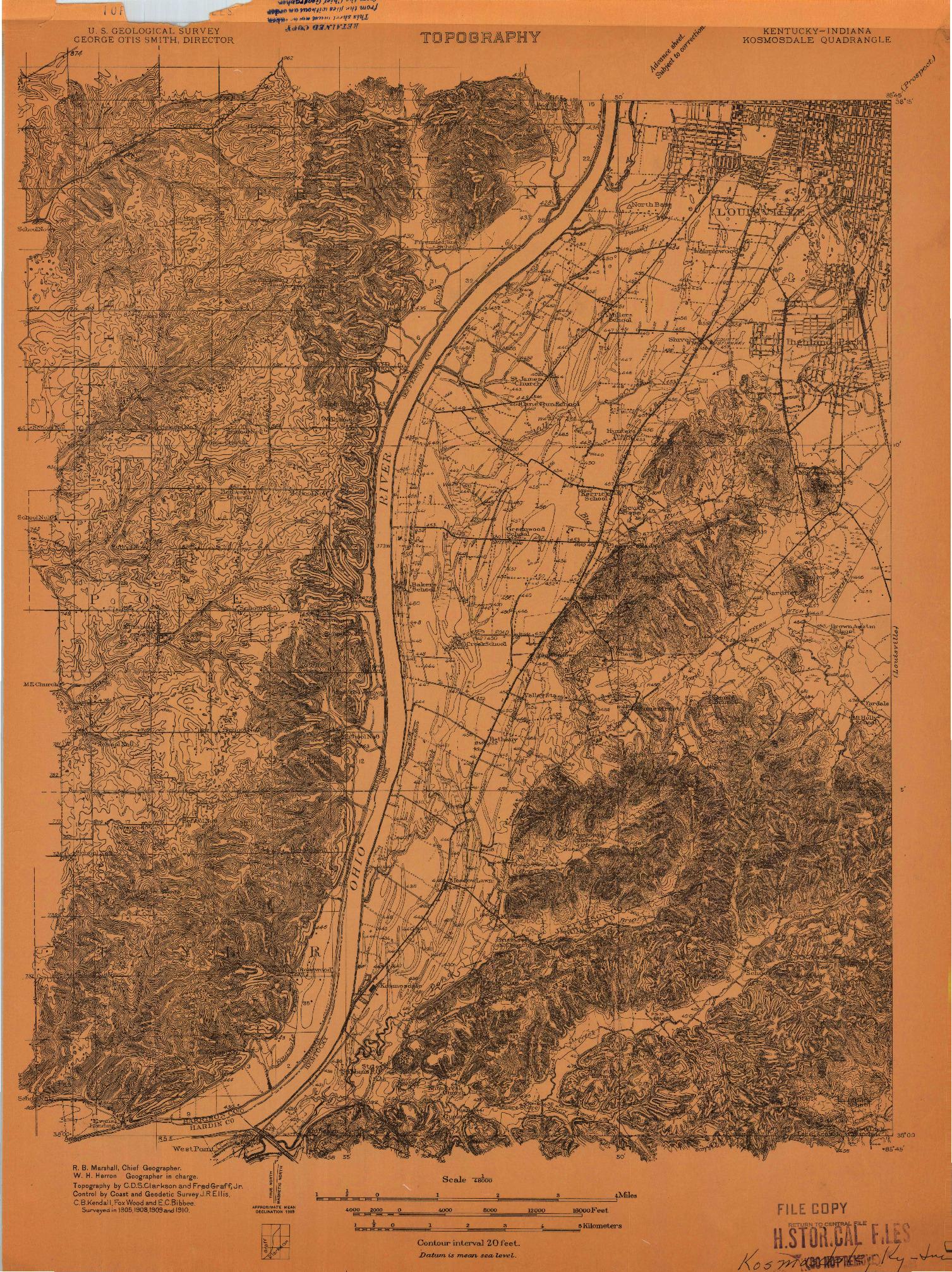 USGS 1:48000-SCALE QUADRANGLE FOR KOSMOSDALE, KY 1909