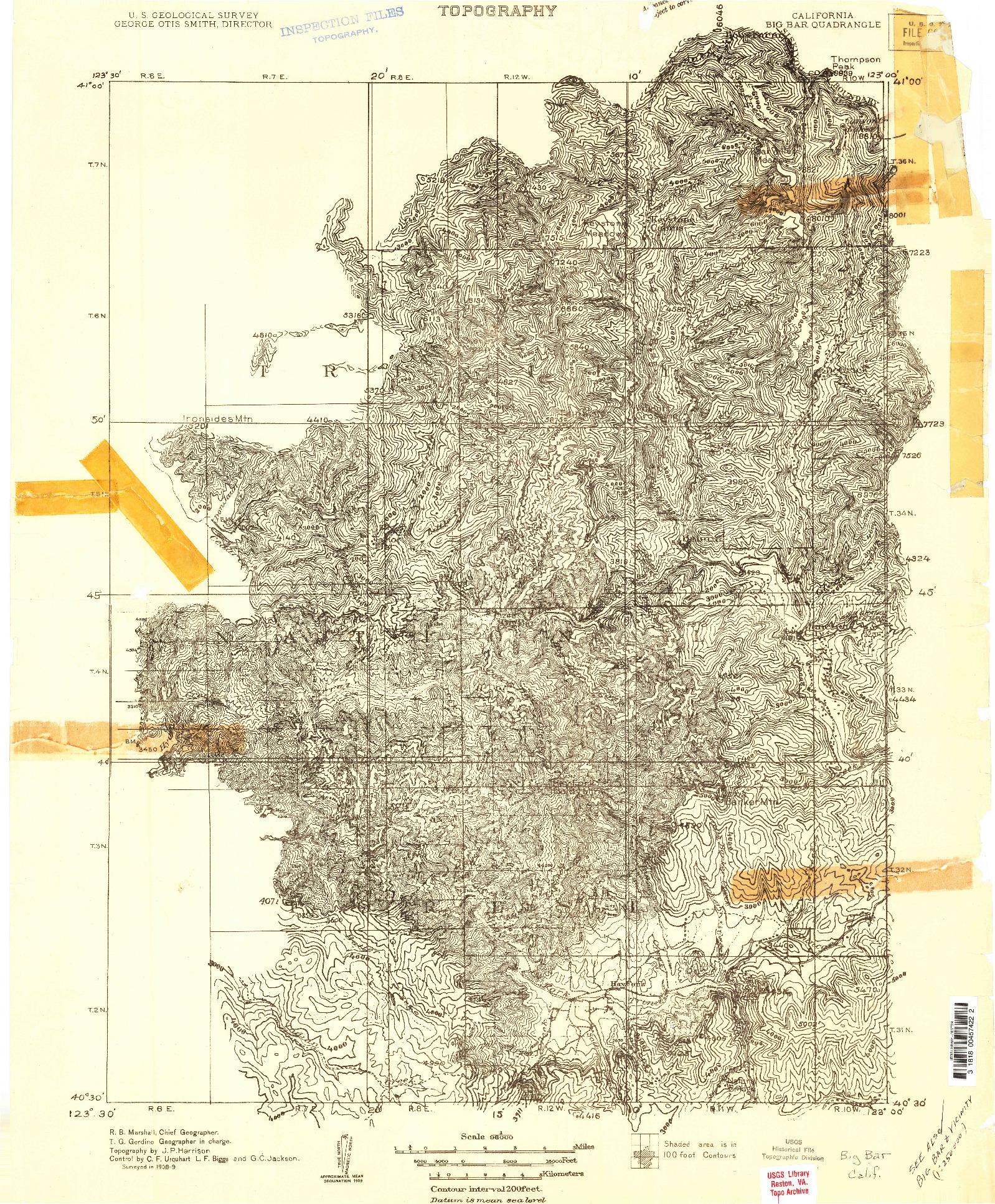 USGS 1:96000-SCALE QUADRANGLE FOR BIG BAR, CA 1909