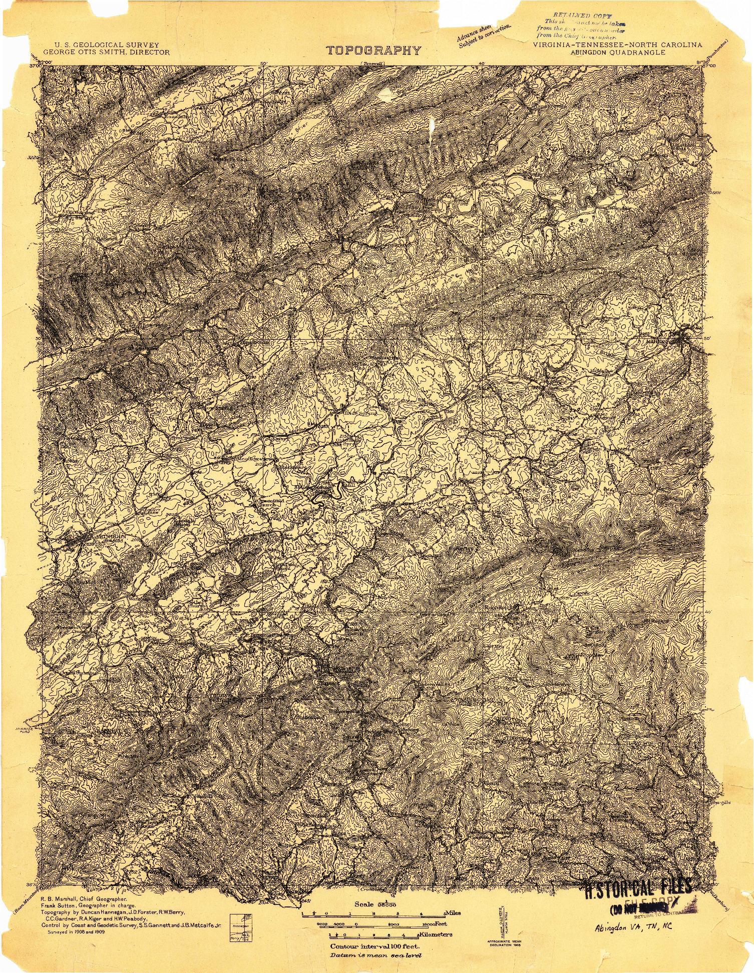 USGS 1:96000-SCALE QUADRANGLE FOR ABINGDON, VA 1909