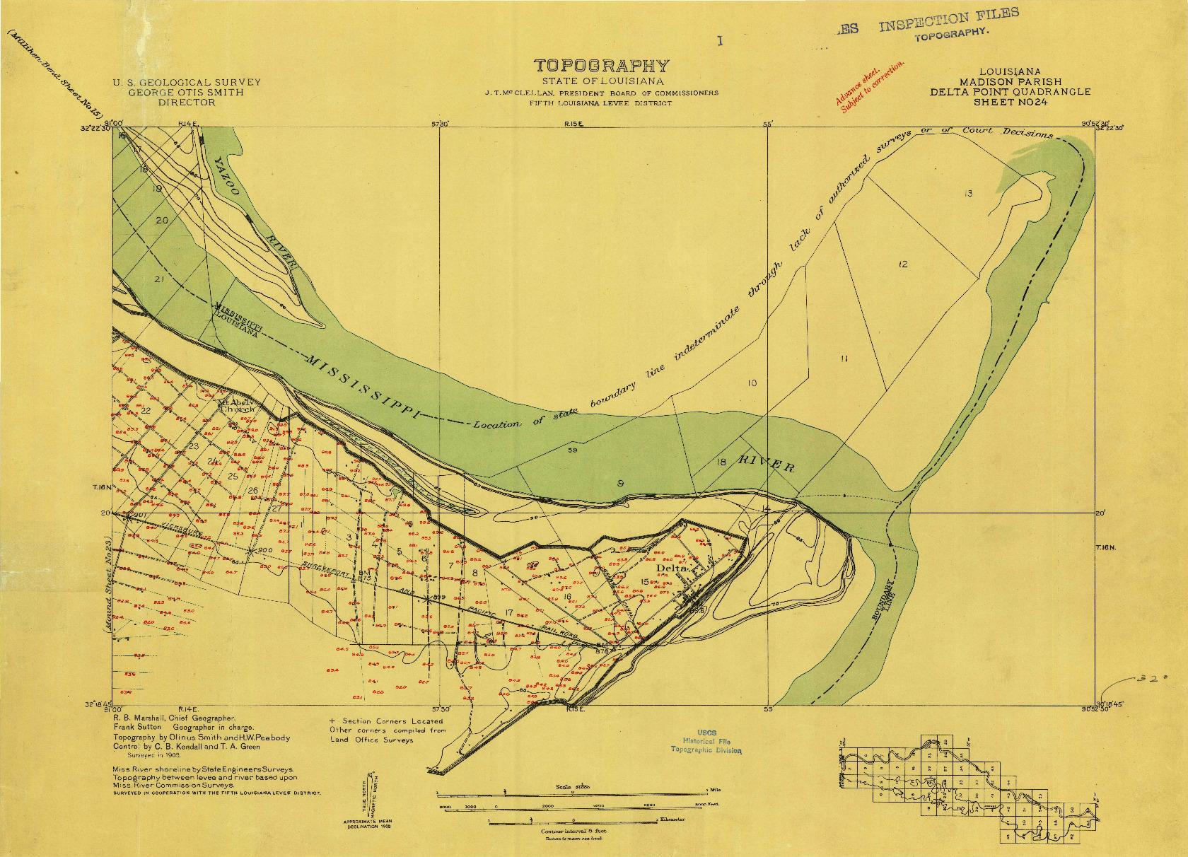 USGS 1:24000-SCALE QUADRANGLE FOR DELTA POINT, LA 1909