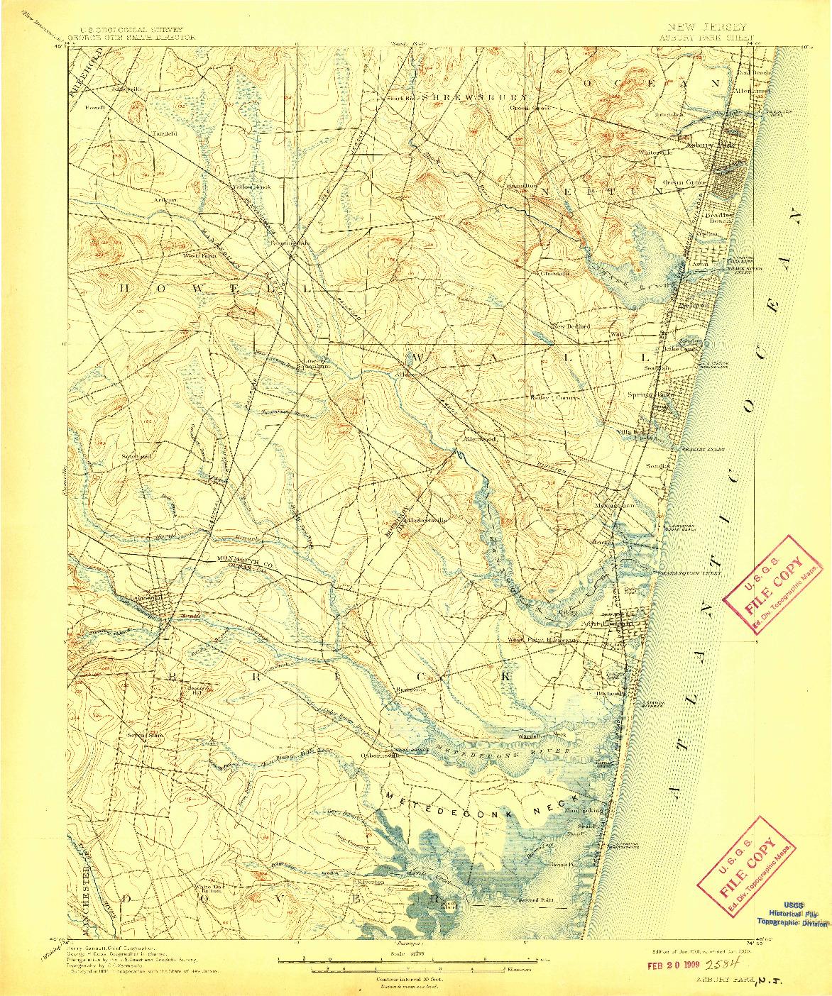 USGS 1:62500-SCALE QUADRANGLE FOR ASBURY PARK, NJ 1901