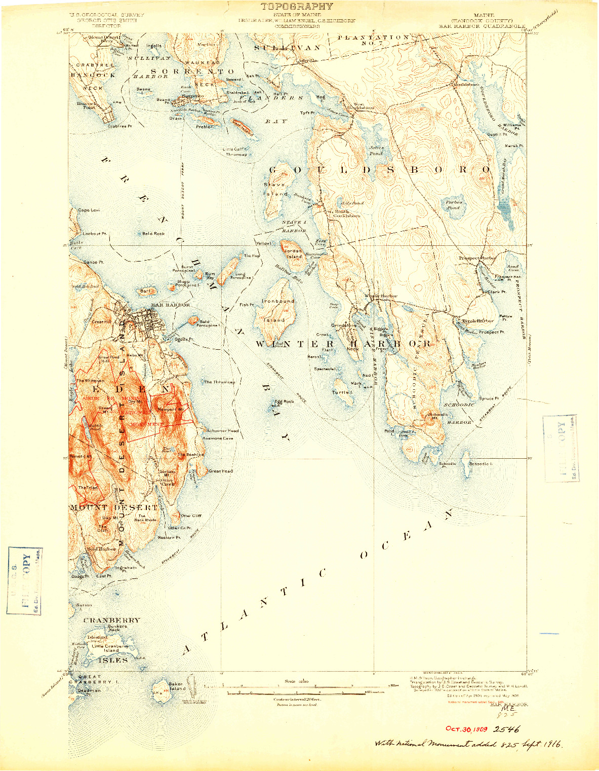 USGS 1:62500-SCALE QUADRANGLE FOR BAR HARBOR, ME 1904
