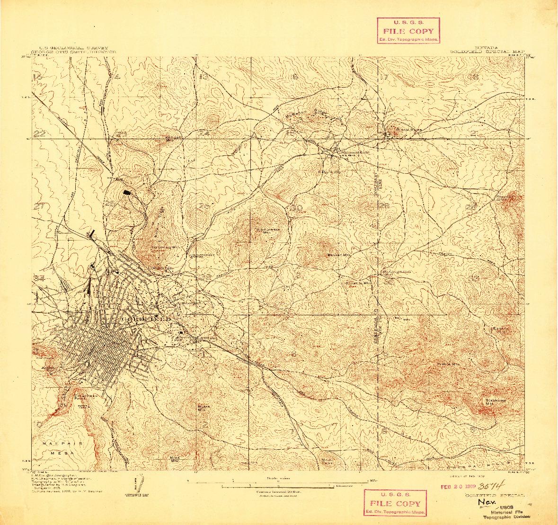 USGS 1:24000-SCALE QUADRANGLE FOR GOLDFIELD, NV 1909