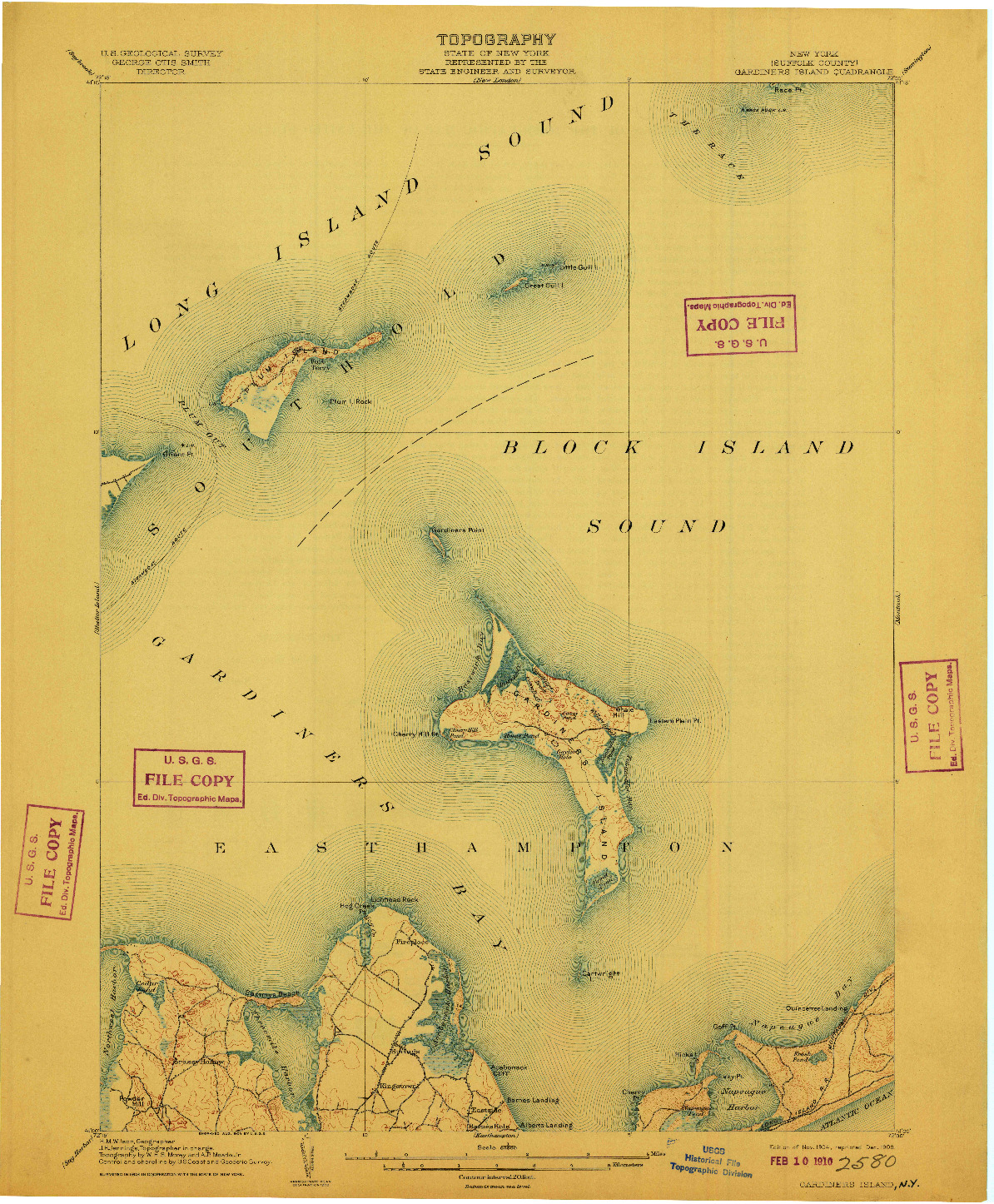 USGS 1:62500-SCALE QUADRANGLE FOR GARDINERS ISLAND, NY 1904