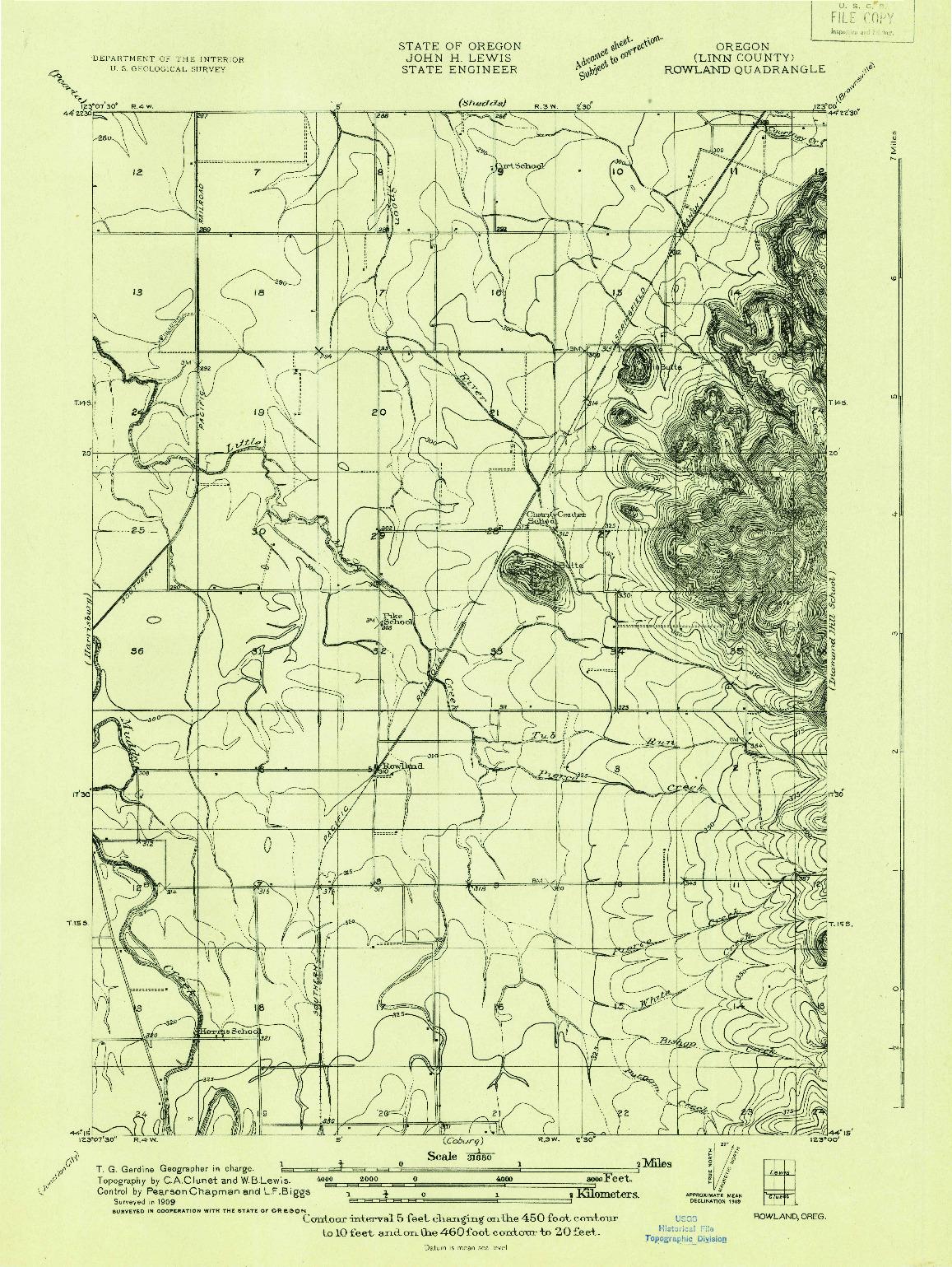 USGS 1:31680-SCALE QUADRANGLE FOR ROWLAND, OR 1909