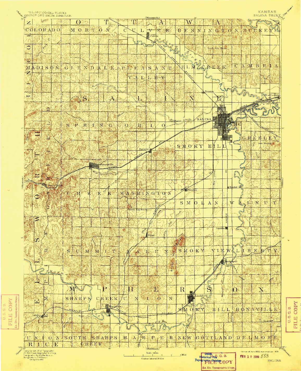 USGS 1:125000-SCALE QUADRANGLE FOR SALINA, KS 1892